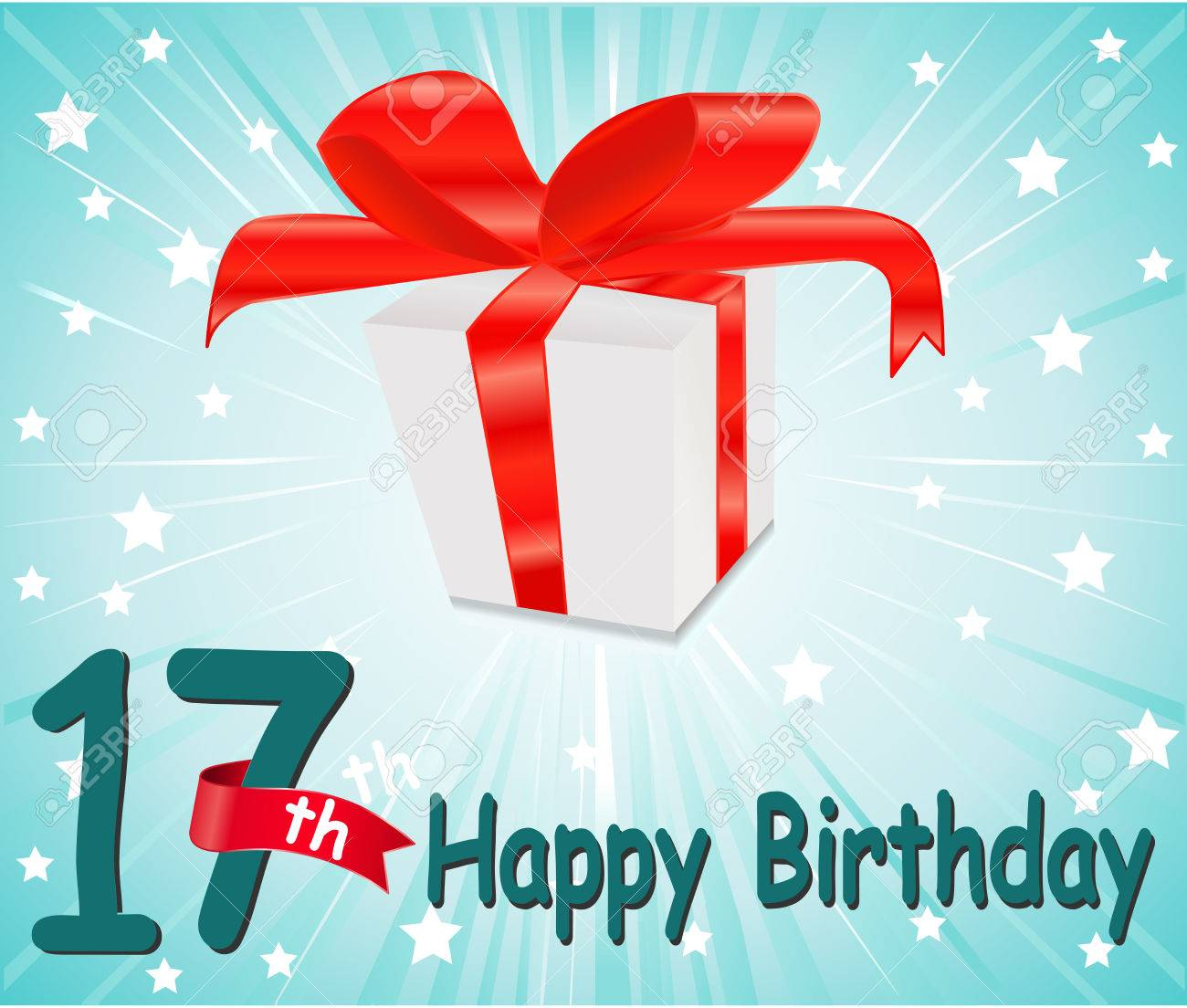 17 Year Happy Birthday Card With Gift And Colorful Background Stock Vector