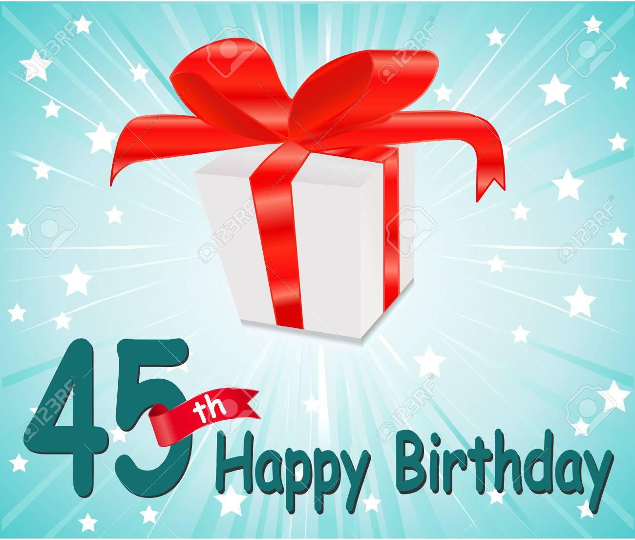 45 Year Happy Birthday Card With Gift And Colorful Background In Vector EPS10 Stock
