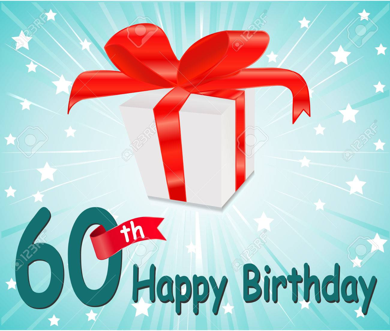 60 Year Happy Birthday Card With Gift And Colorful Background Stock Vector