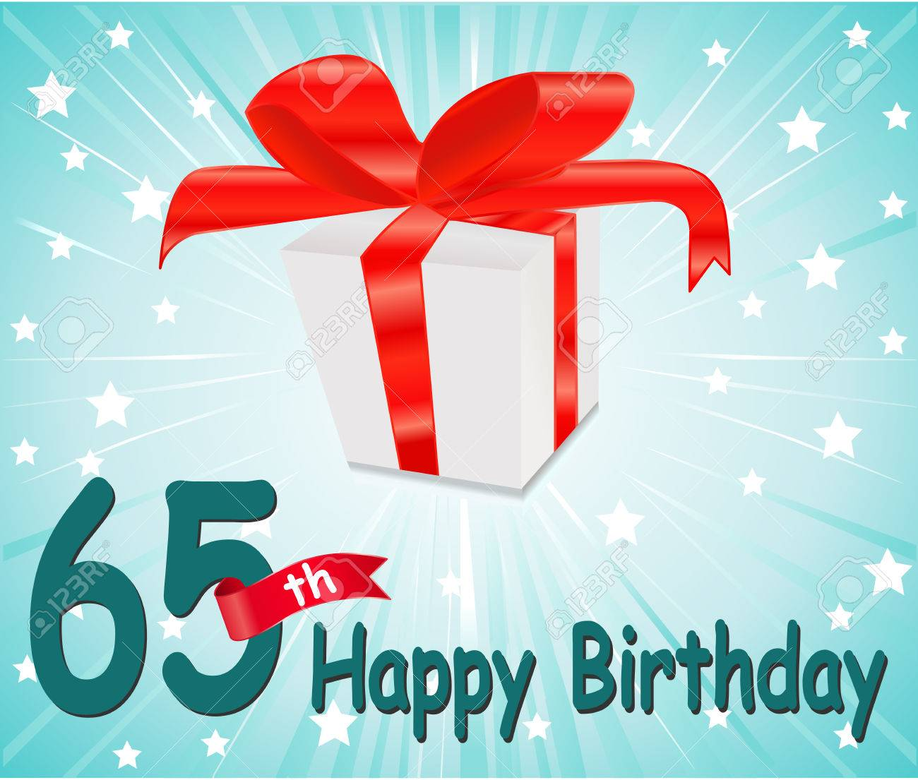 65 Year Happy Birthday Card With Gift And Colorful Background Stock Vector