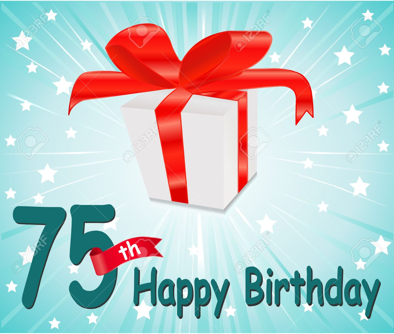 75 Year Happy Birthday Card With Gift And Colorful Background Stock Vector