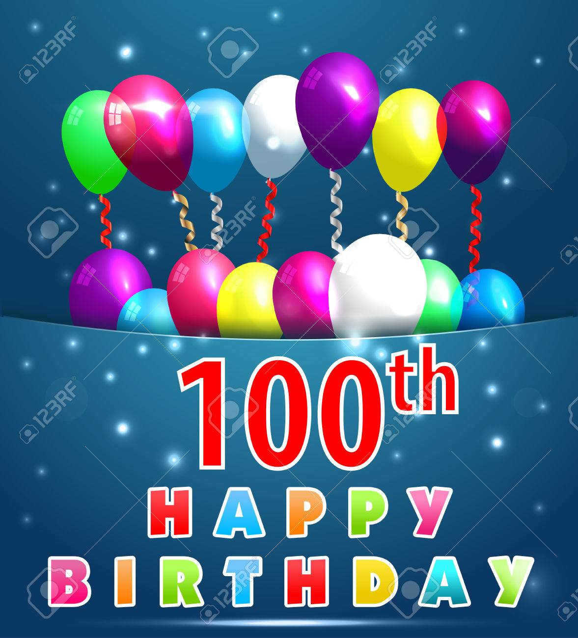 100 year happy birthday card with balloons and ribbons 100th 100 year happy birthday card with balloons and ribbons 100th birthday vector eps10 stock bookmarktalkfo Images