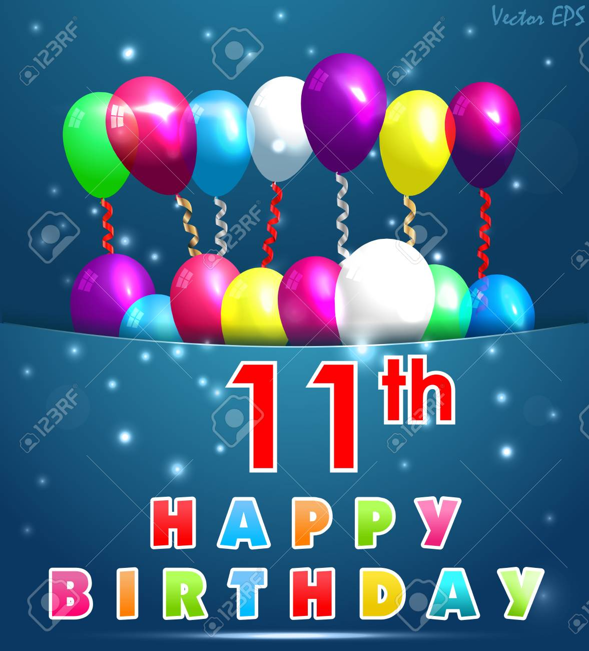 11 Year Happy Birthday Card With Balloons And Ribbons 11th