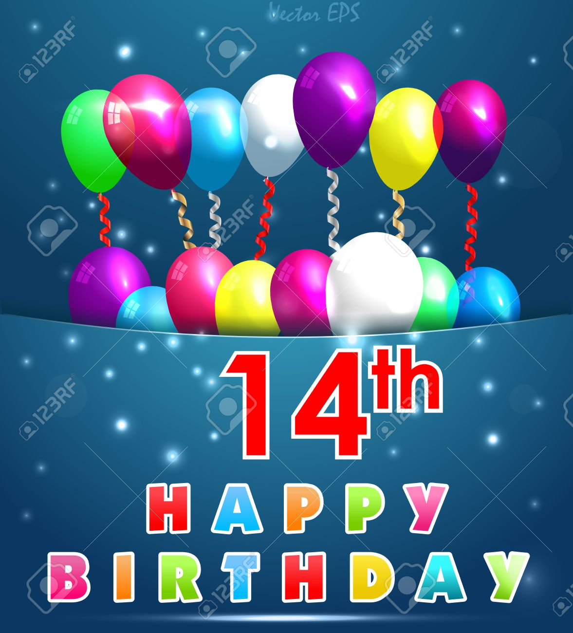 14 Year Happy Birthday Card With Balloons And Ribbons 14th Stock Vector