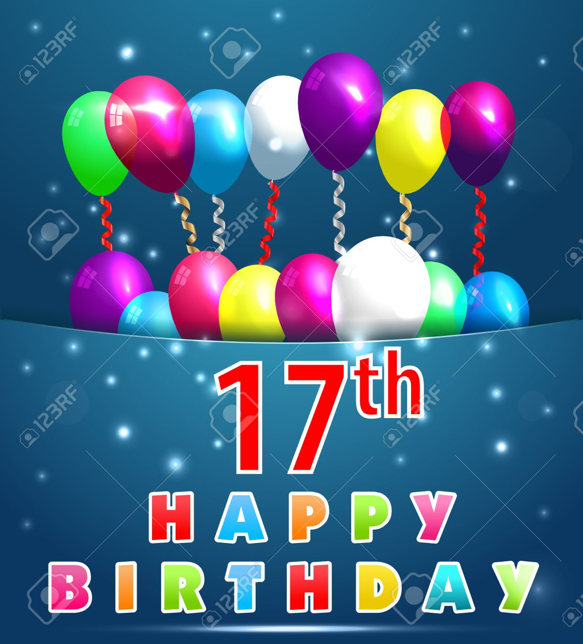 17 Year Happy Birthday Card With Balloons And Ribbons 17th Stock Vector