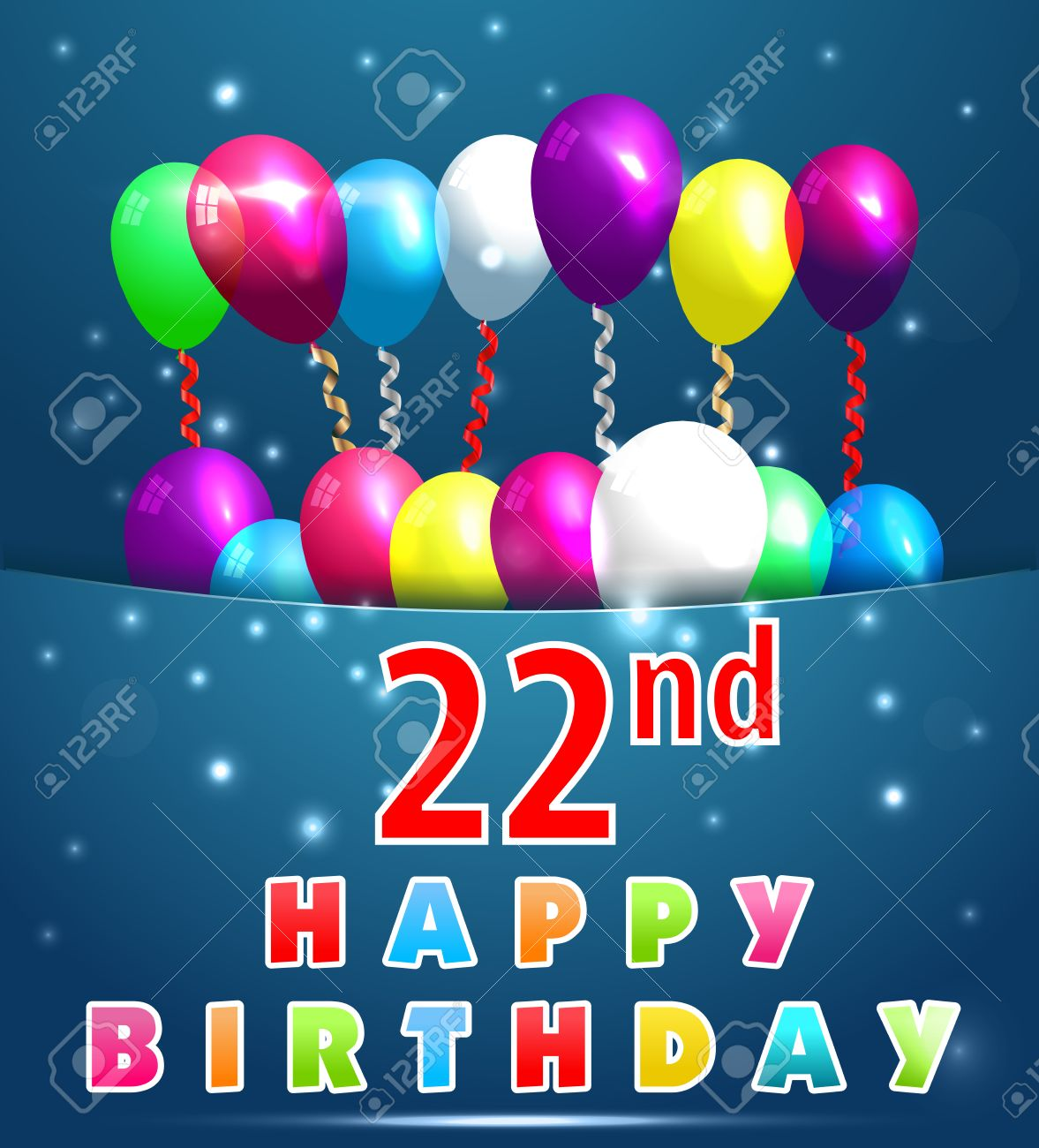 22 Year Happy Birthday Card With Balloons And Ribbons 22nd Stock Vector