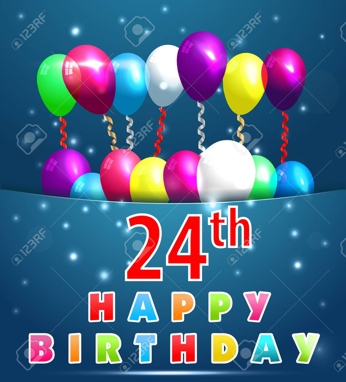 24 Year Happy Birthday Card With Balloons And Ribbons 25th Stock Vector