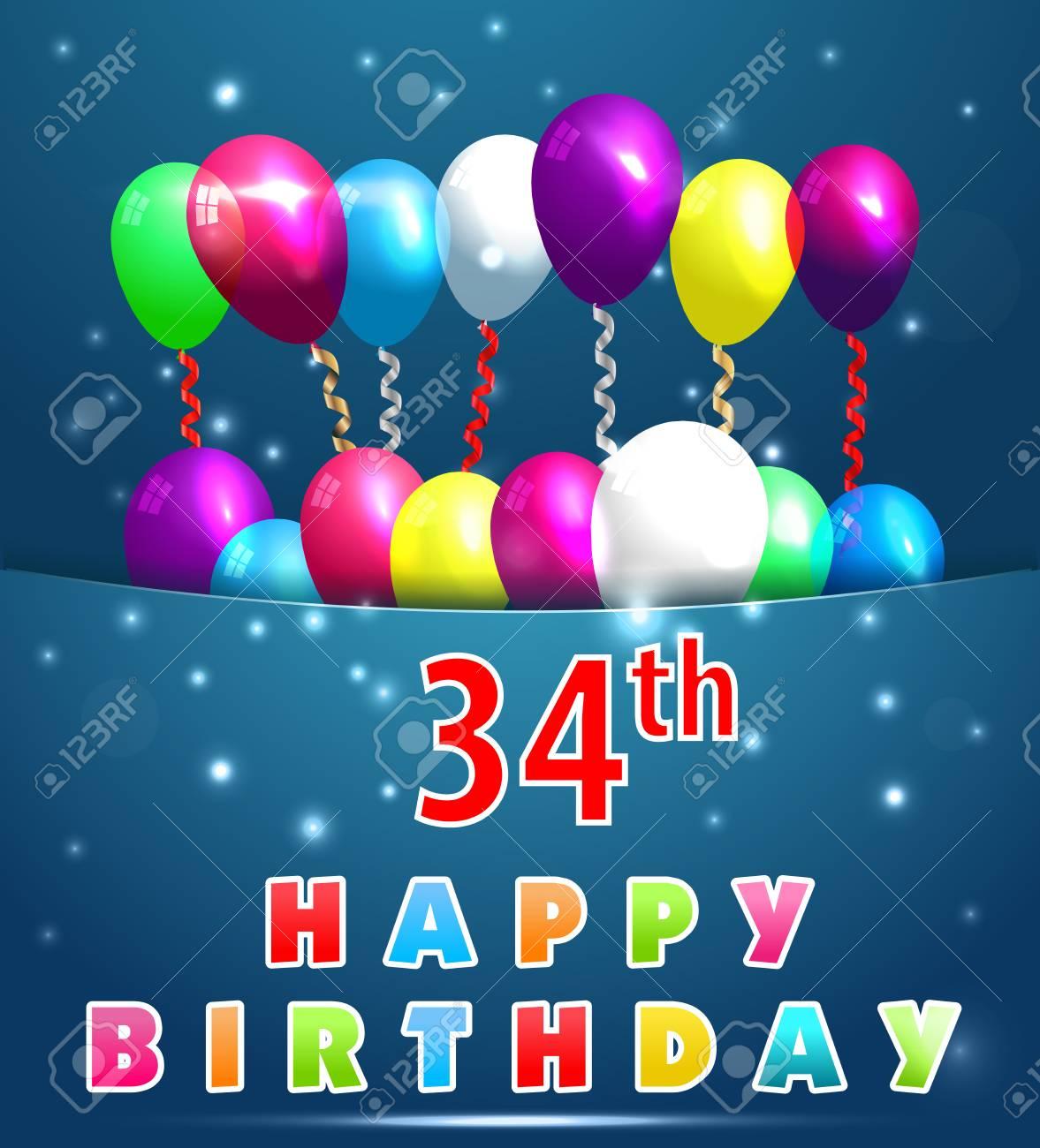 34 Jahre Happy Birthday Karte Mit Luftballons Und Bändern 34