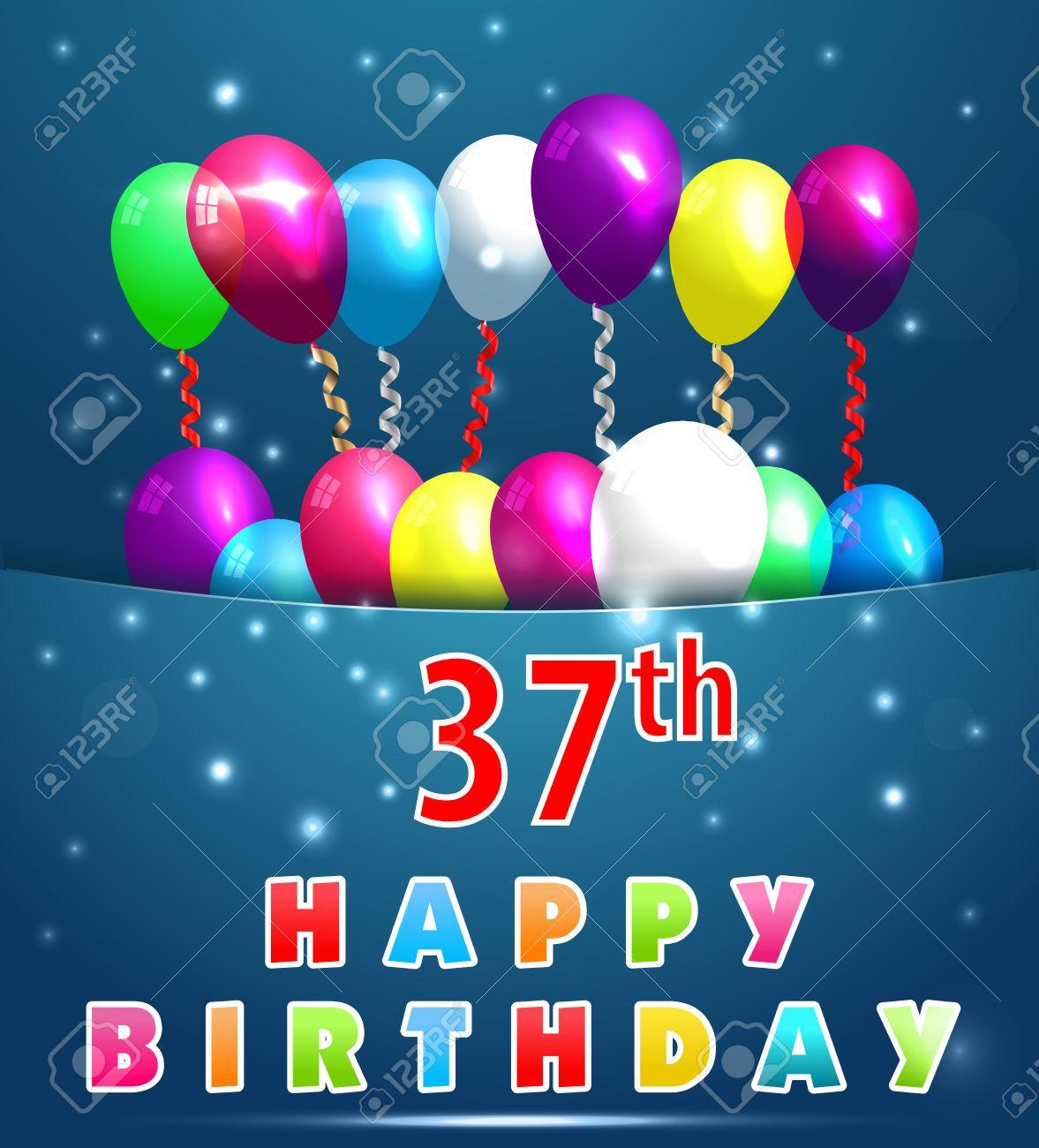 Vettoriale   37 Anni Scheda Di Buon Compleanno Con Palloncini E