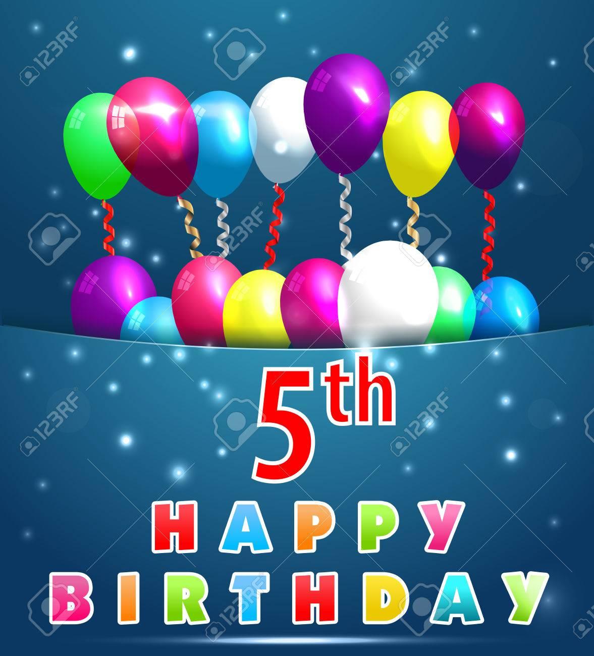 5 Jahre Alles Gute Zum Geburtstag Karte Mit Luftballons Und Bandern