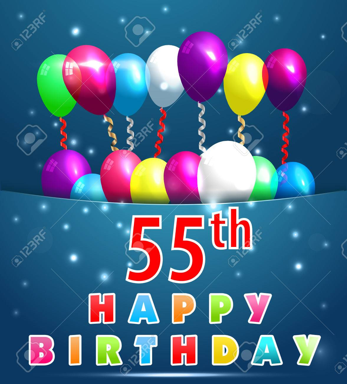 55 Year Happy Birthday Card With Balloons And Ribbons 55th Stock Vector