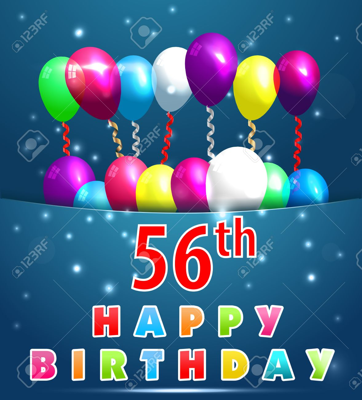 56 Year Happy Birthday Card With Balloons And Ribbons 56th Stock Vector