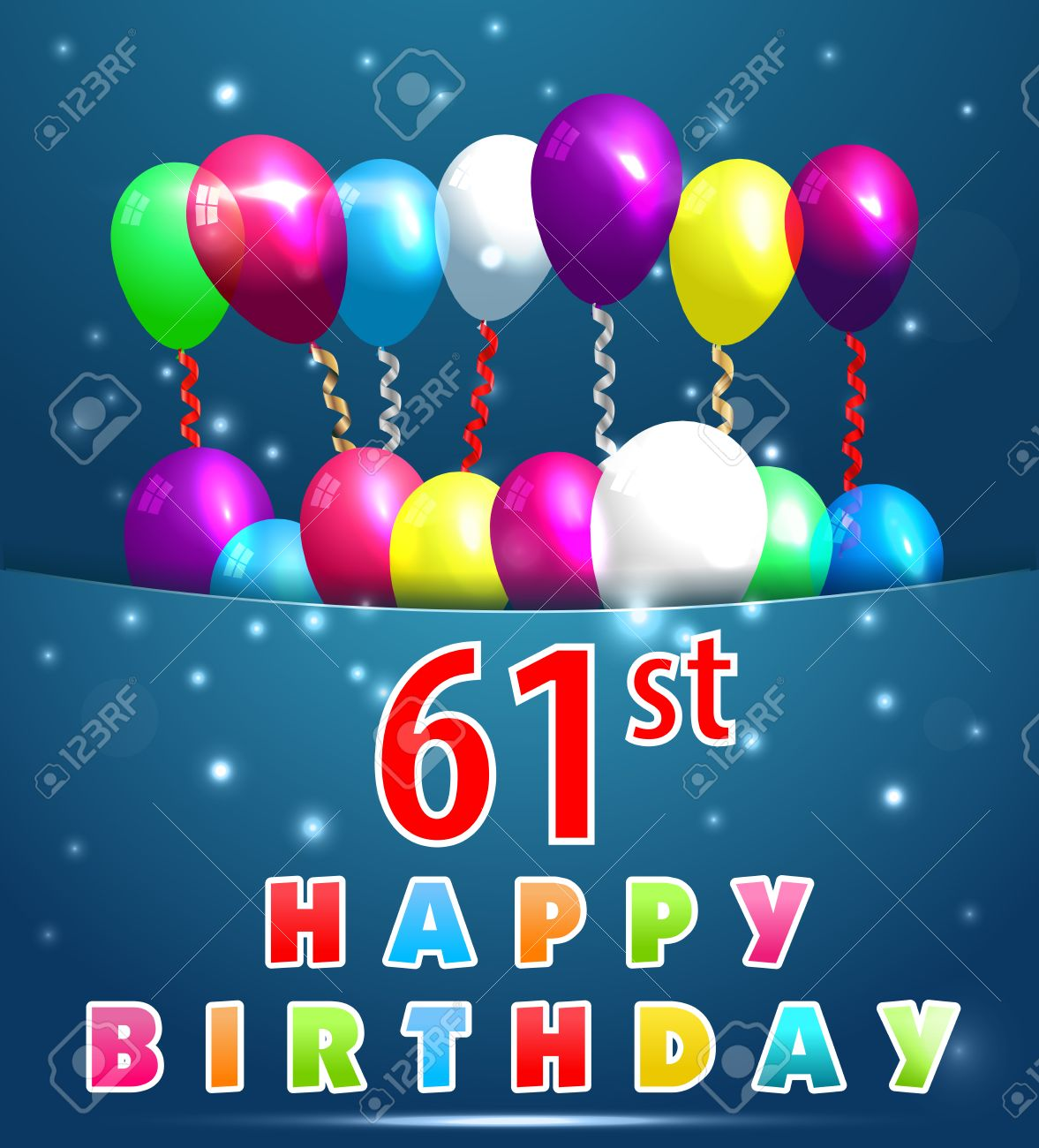 61 Year Happy Birthday Card With Balloons And Ribbons 61st Birthday