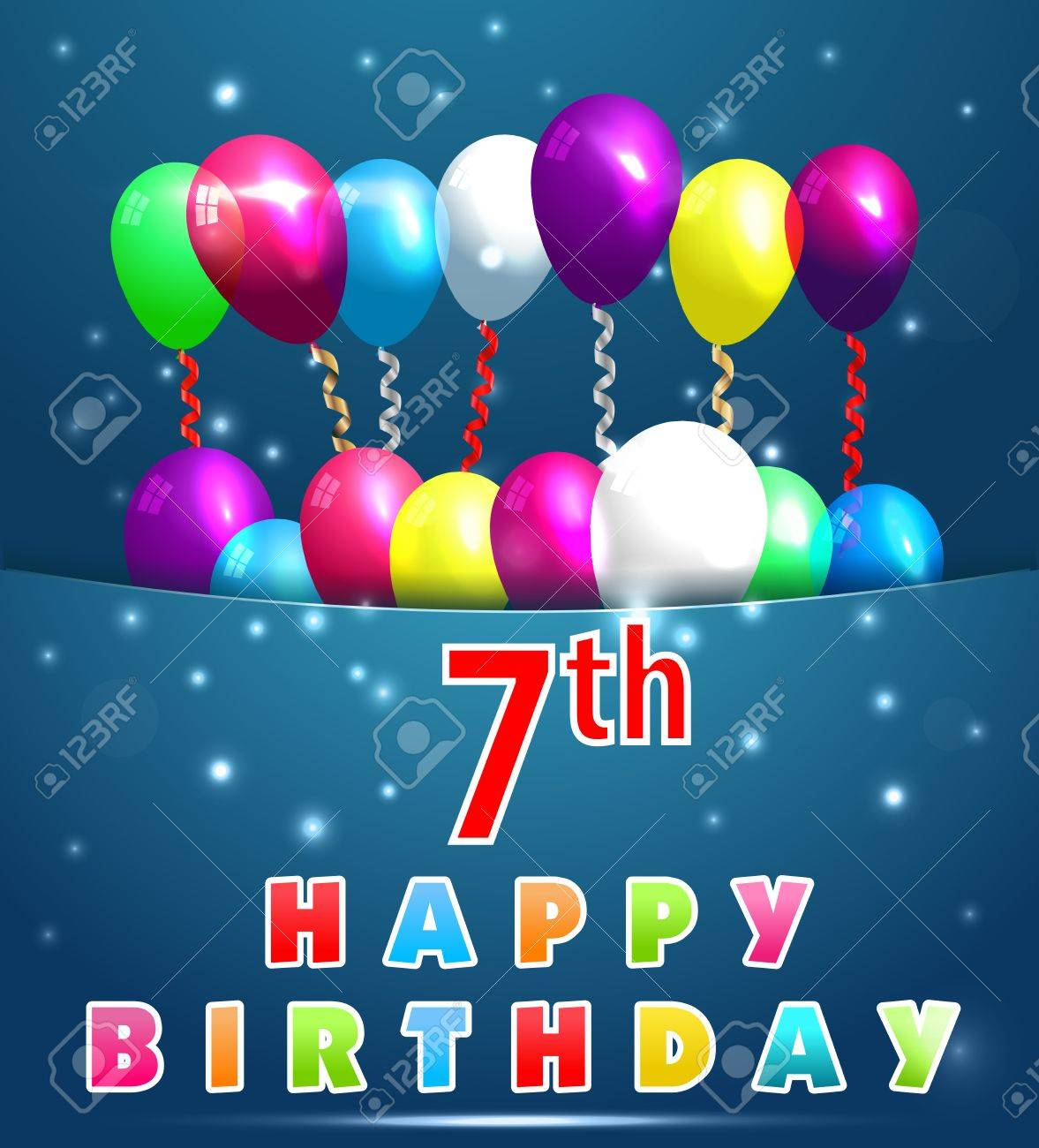 7 Year Happy Birthday Card With Balloons And Ribbons 7th Birthday