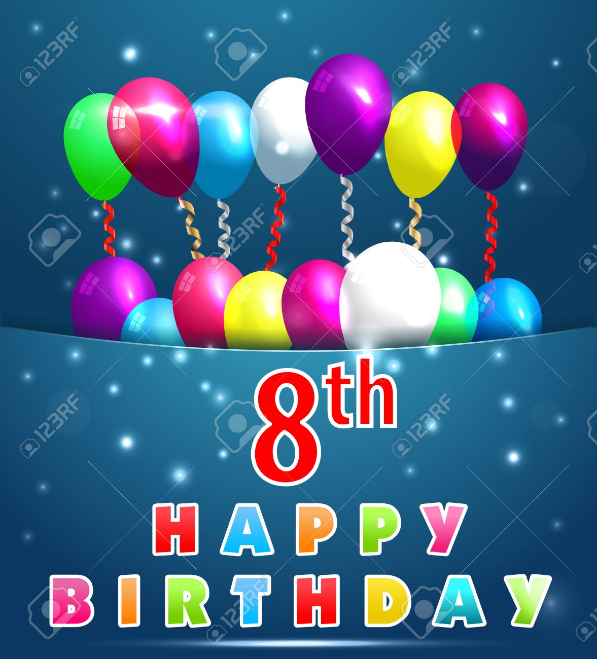 8 Year Happy Birthday Card With Balloons And Ribbons8th Stock Vector