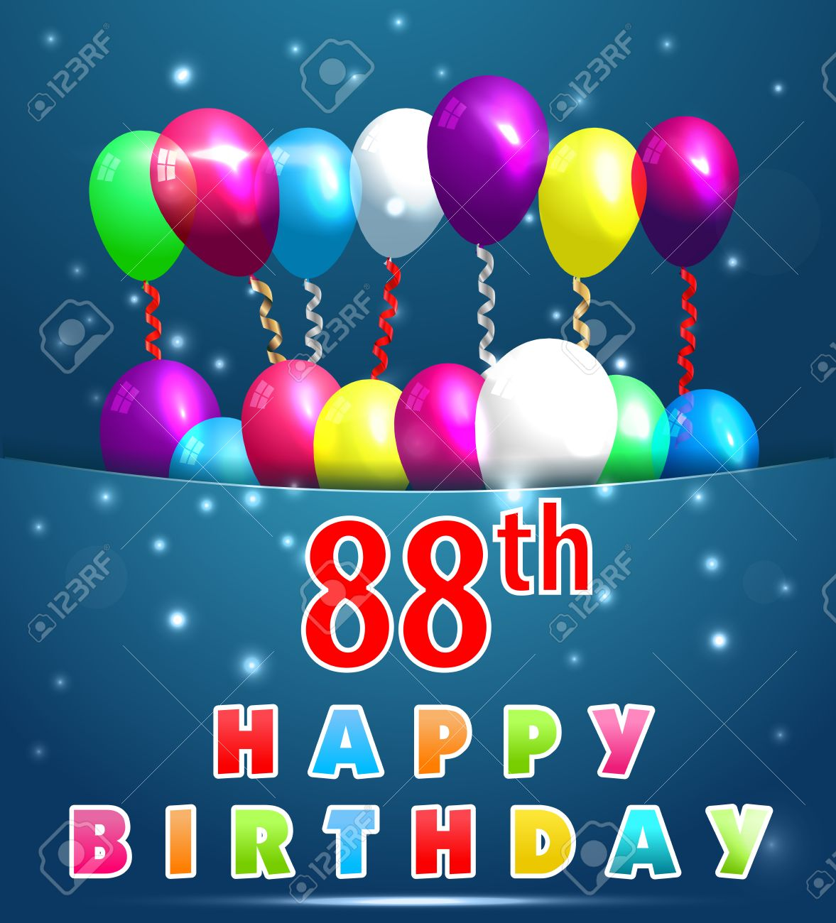 88 Year Happy Birthday Card With Balloons And Ribbons88th Stock Vector