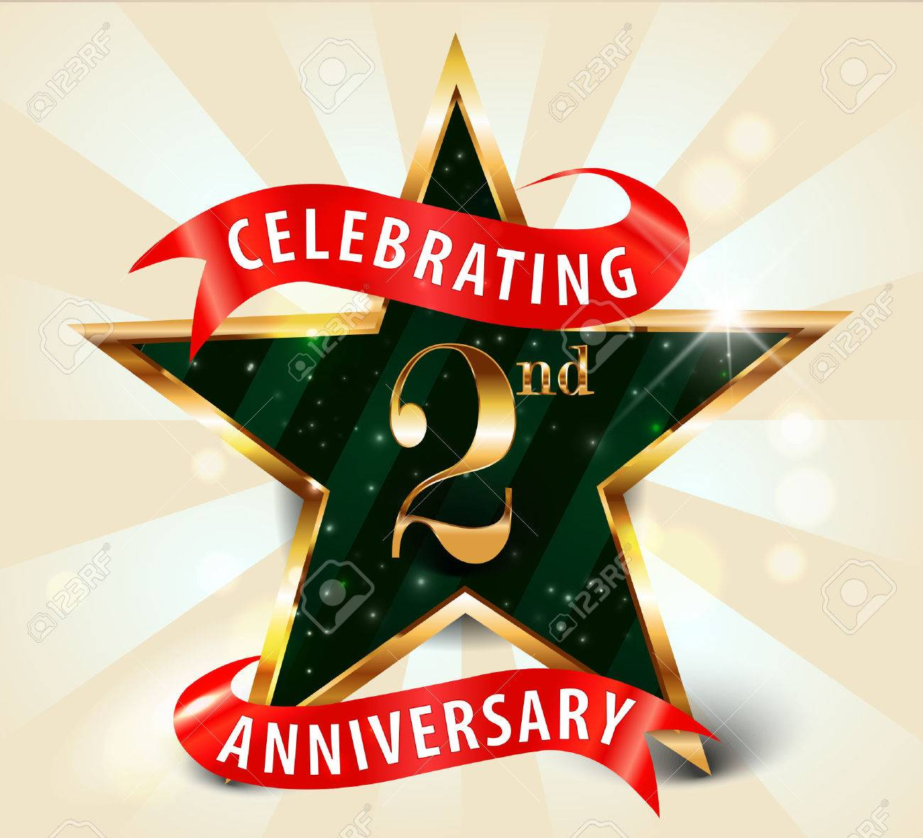 2 Year Anniversary Celebration Golden Star Ribbon Celebrating Royalty Free Cliparts Vectors And Stock Illustration Image 37742585