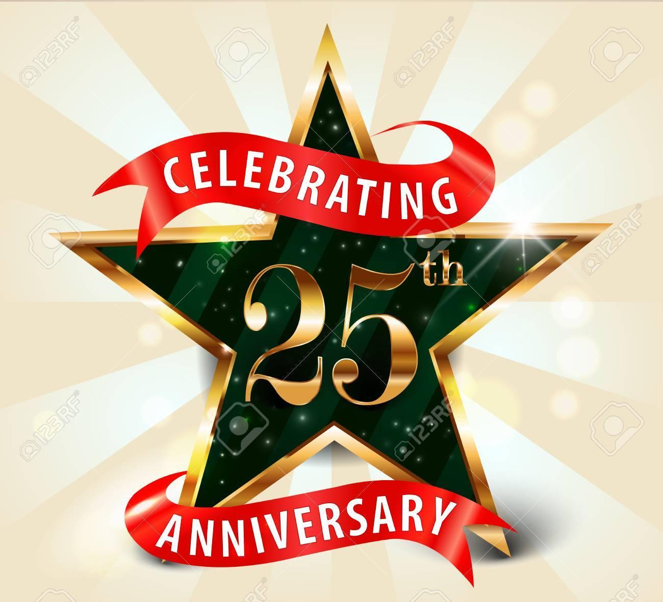 25 Year Anniversary Celebration Golden Star Ribbon, Celebrating ...