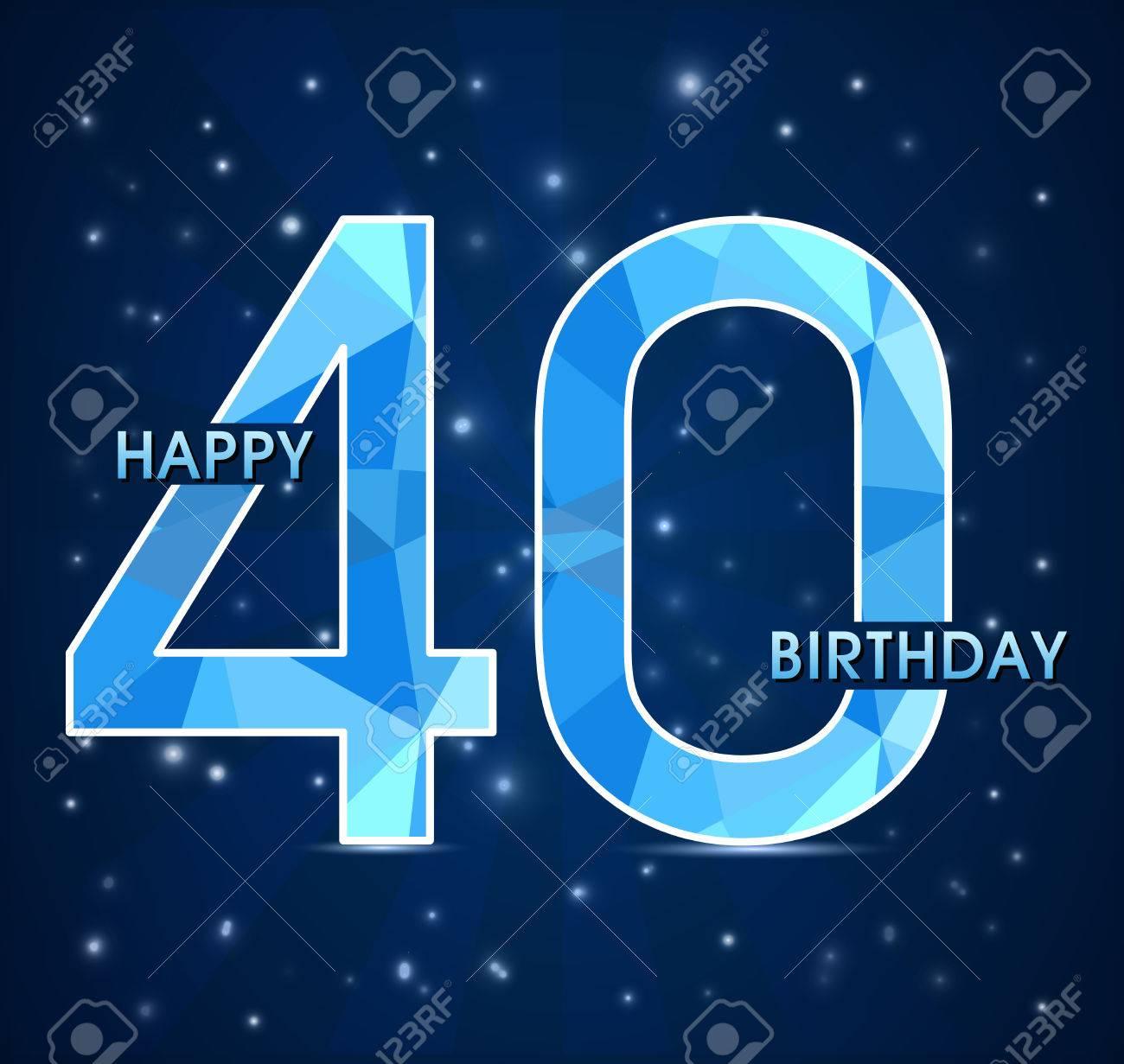 Festa Compleanno 40 Anni etichetta festa di compleanno 40 anni, 40 ° anniversario poligono  decorativo emblema - illustrazione vettoriale