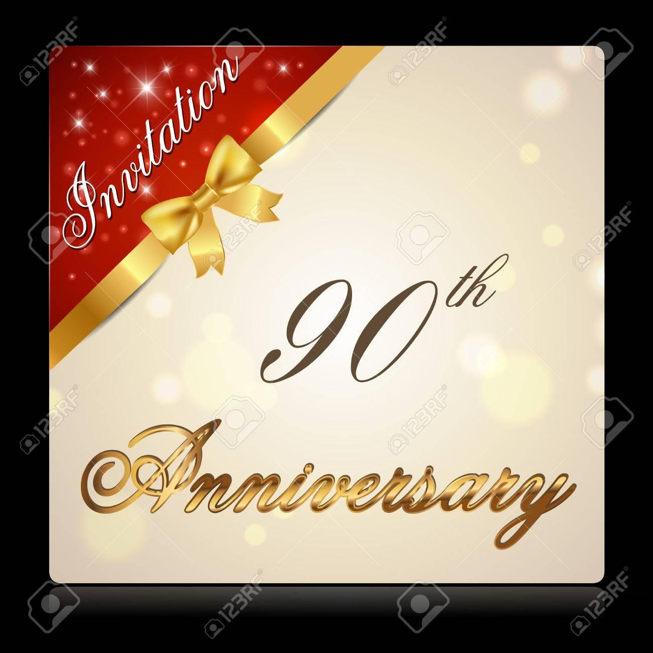 Cinta De 90 Años La Celebración Del Aniversario De Oro Tarjeta Decorativo Invitación Vector Eps10