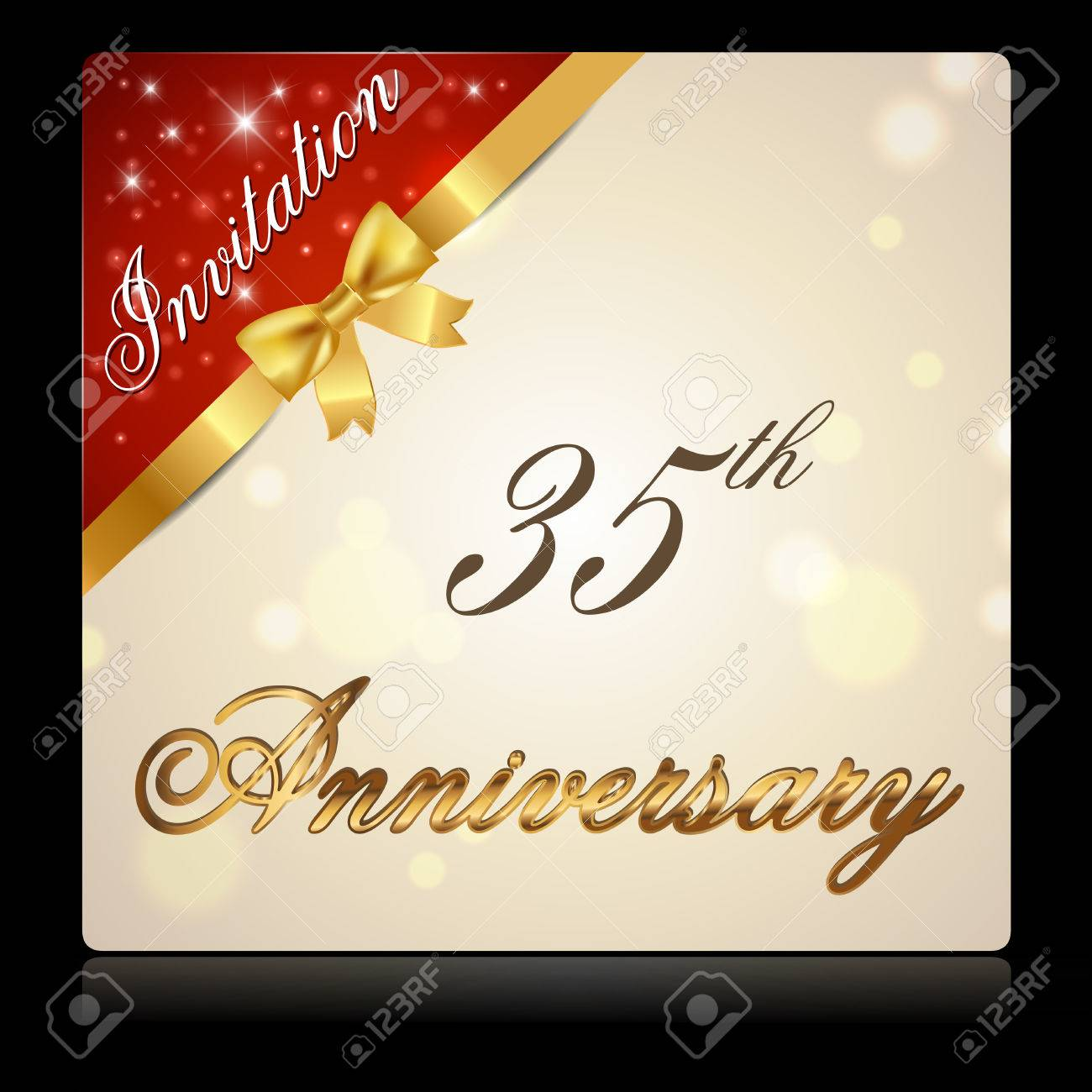 Cinta De 35 Años La Celebración Del Aniversario De Oro Tarjeta Decorativo Invitación Vector Eps10