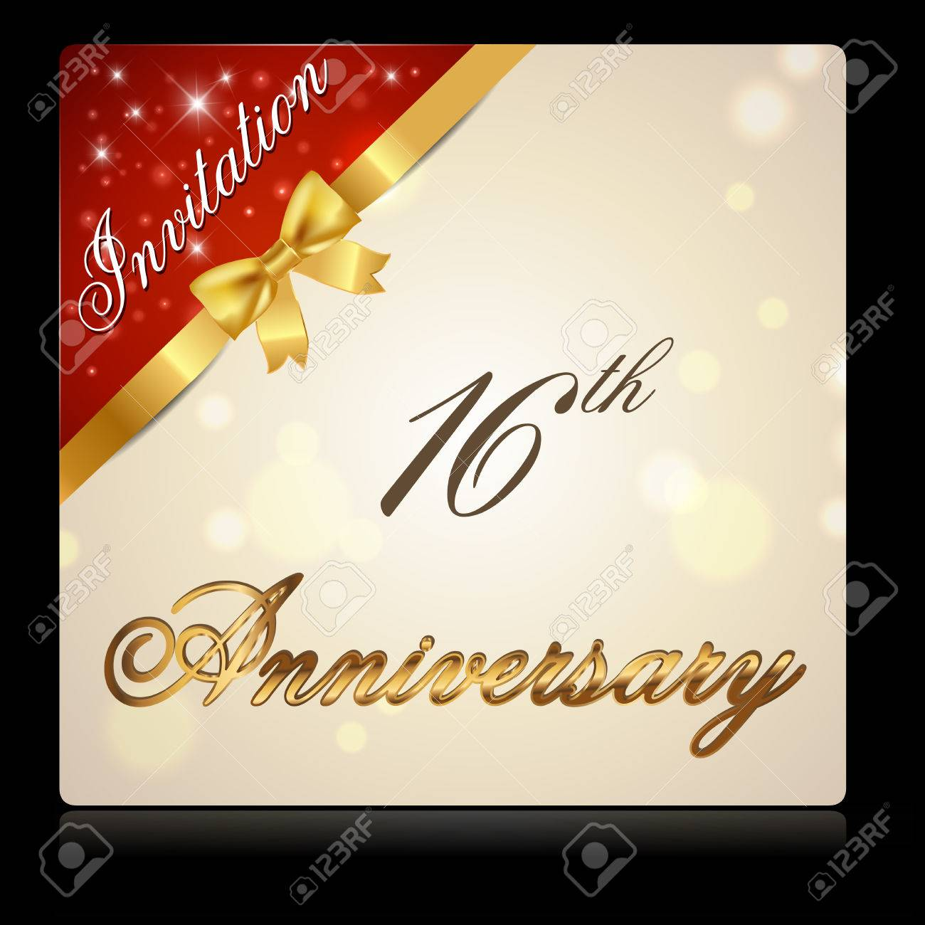 16 Year Anniversary Celebration Golden Ribbon, Decorative Invitation ...