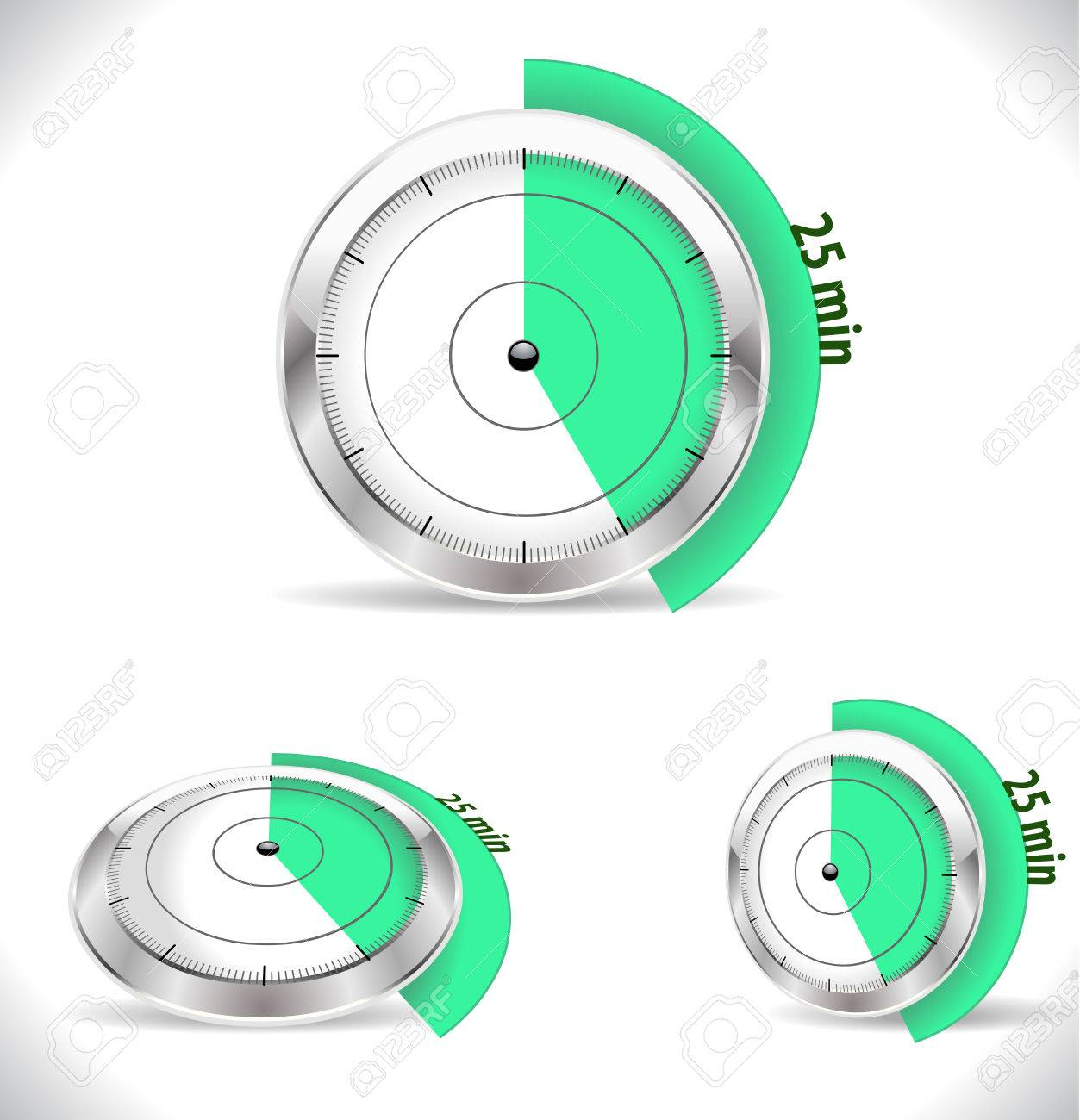 25 min timers twenty five minutes alarm stock vector 38634230