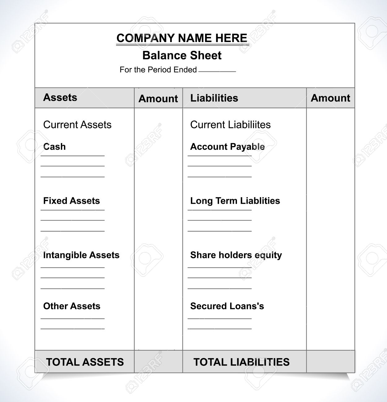 Balance Sheet Format, Unfill Paper Balance Invoice Form Royalty ...