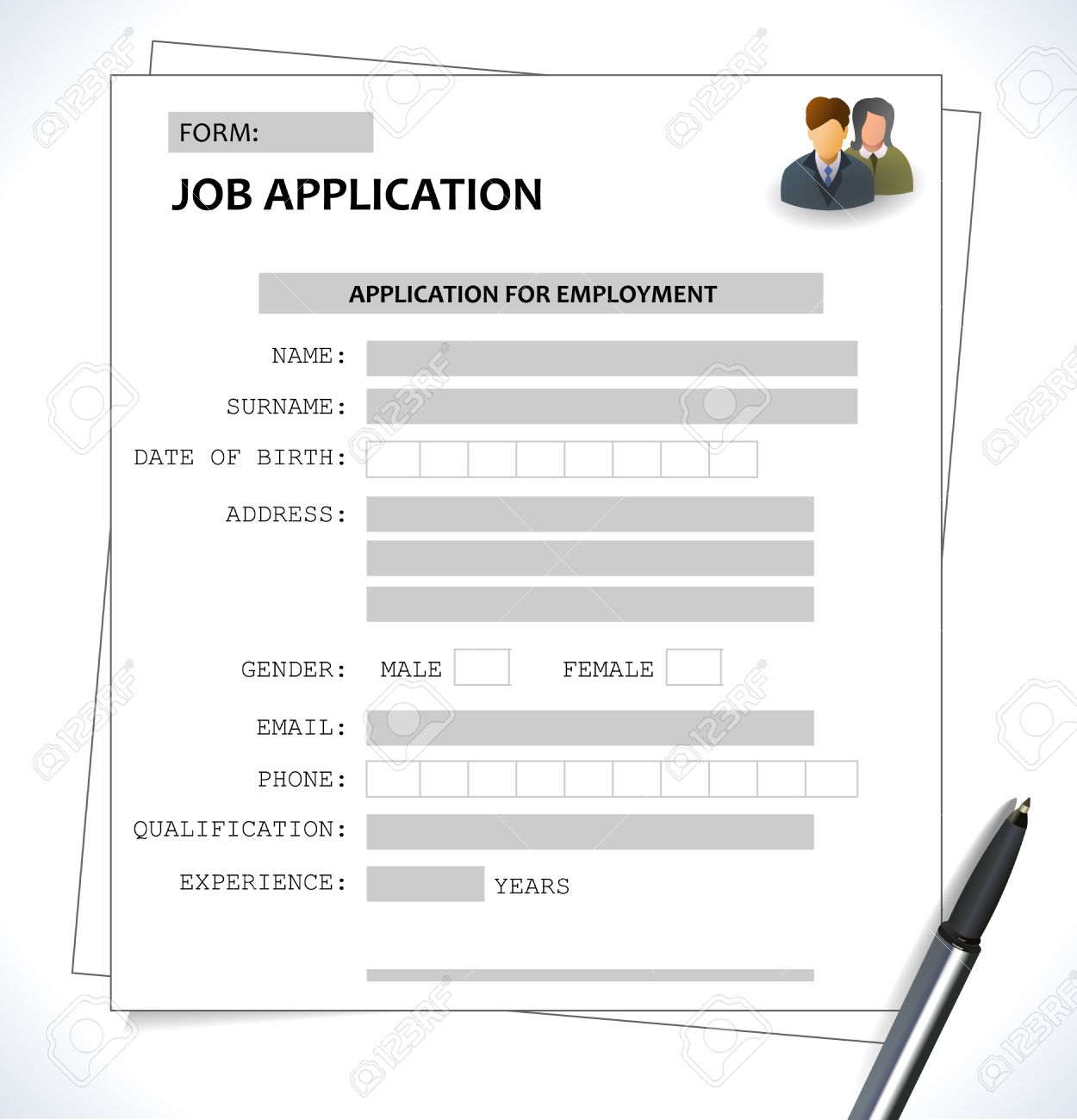 Great Minimalist Cv Resume Template Job Application Form Vector Eps 10 Stock  Vector   40548094  Resume Application Form
