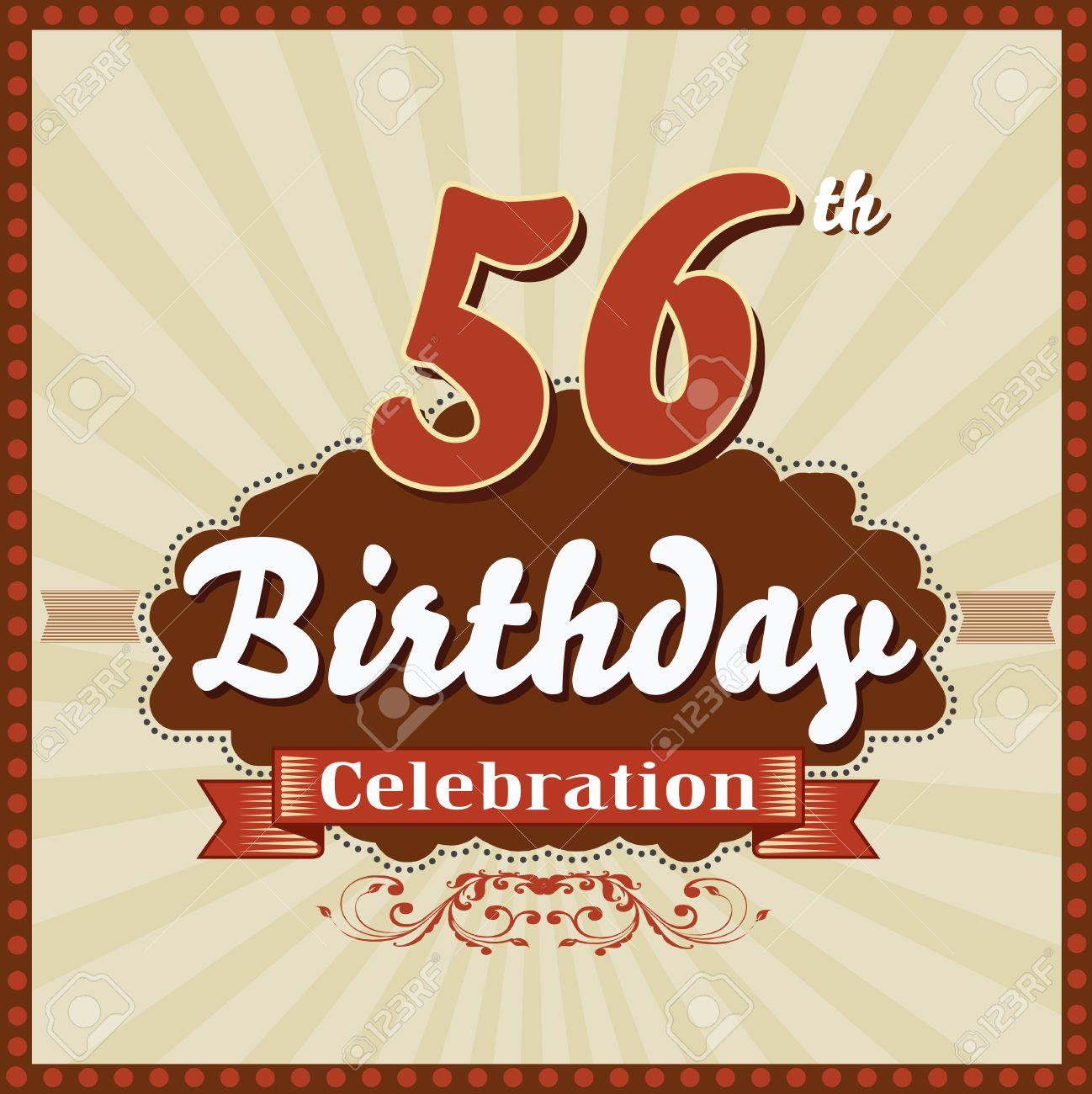 56 Year Happy Birthday Celebration Retro Style Card Vector Eps10 Stock