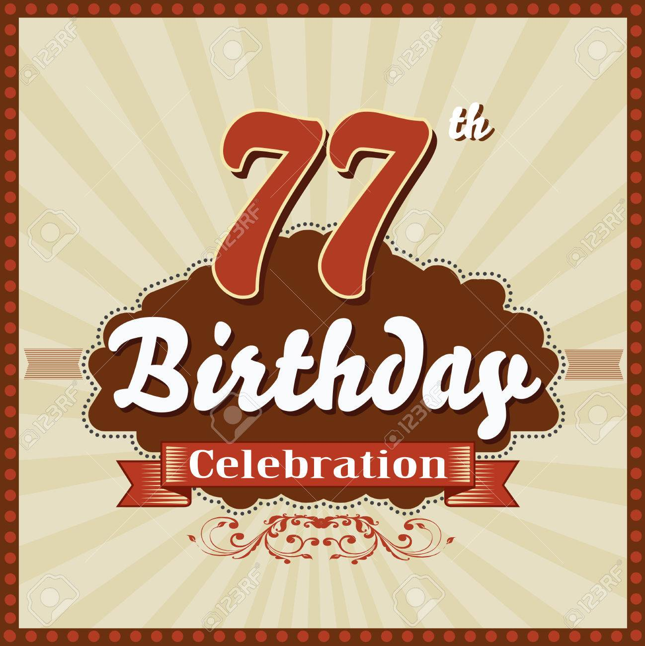77 Year Happy Birthday Celebration Retro Style Card Vector Eps10 Stock