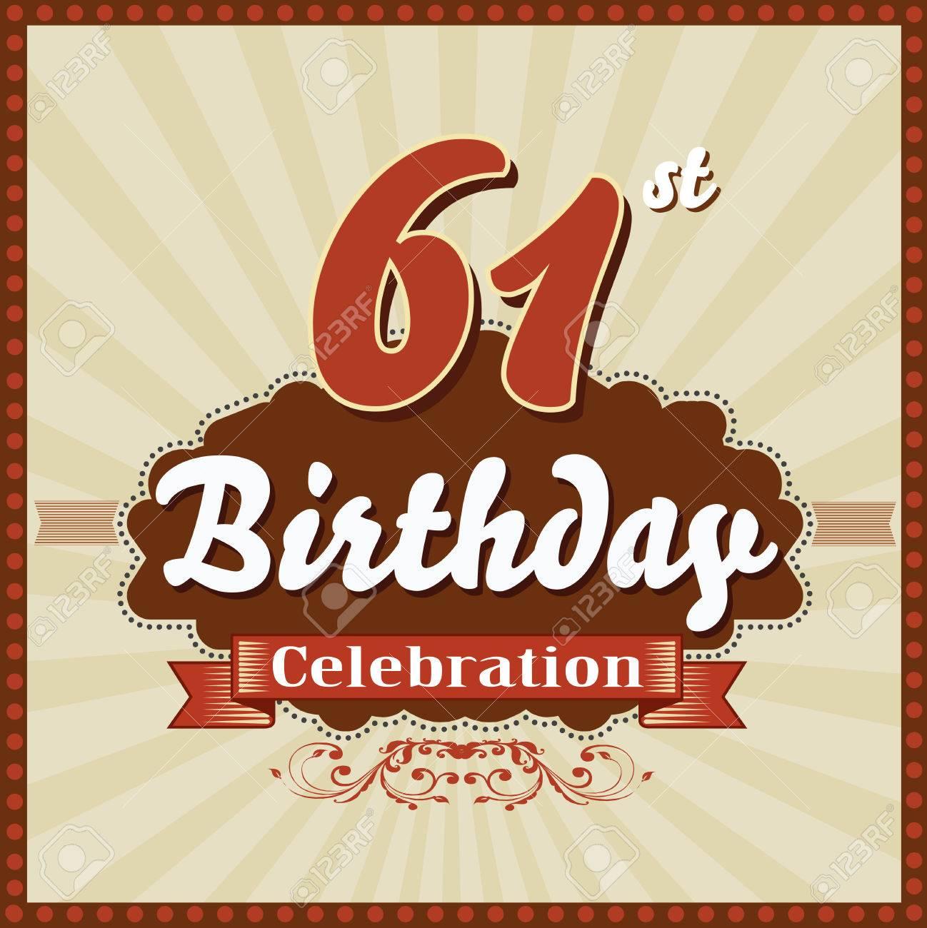 61 Year Happy Birthday Celebration Retro Style Card Vector Eps10
