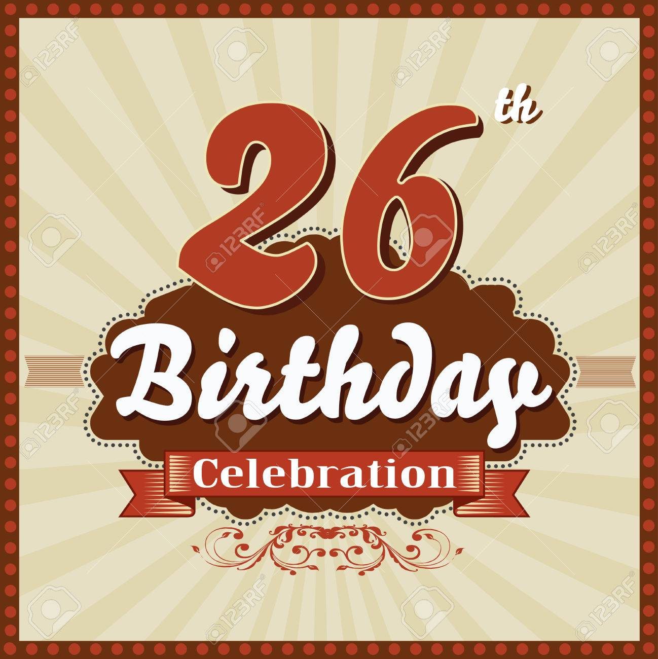 26 year happy birthday celebration retro style card vector eps10 stock vector 41119446