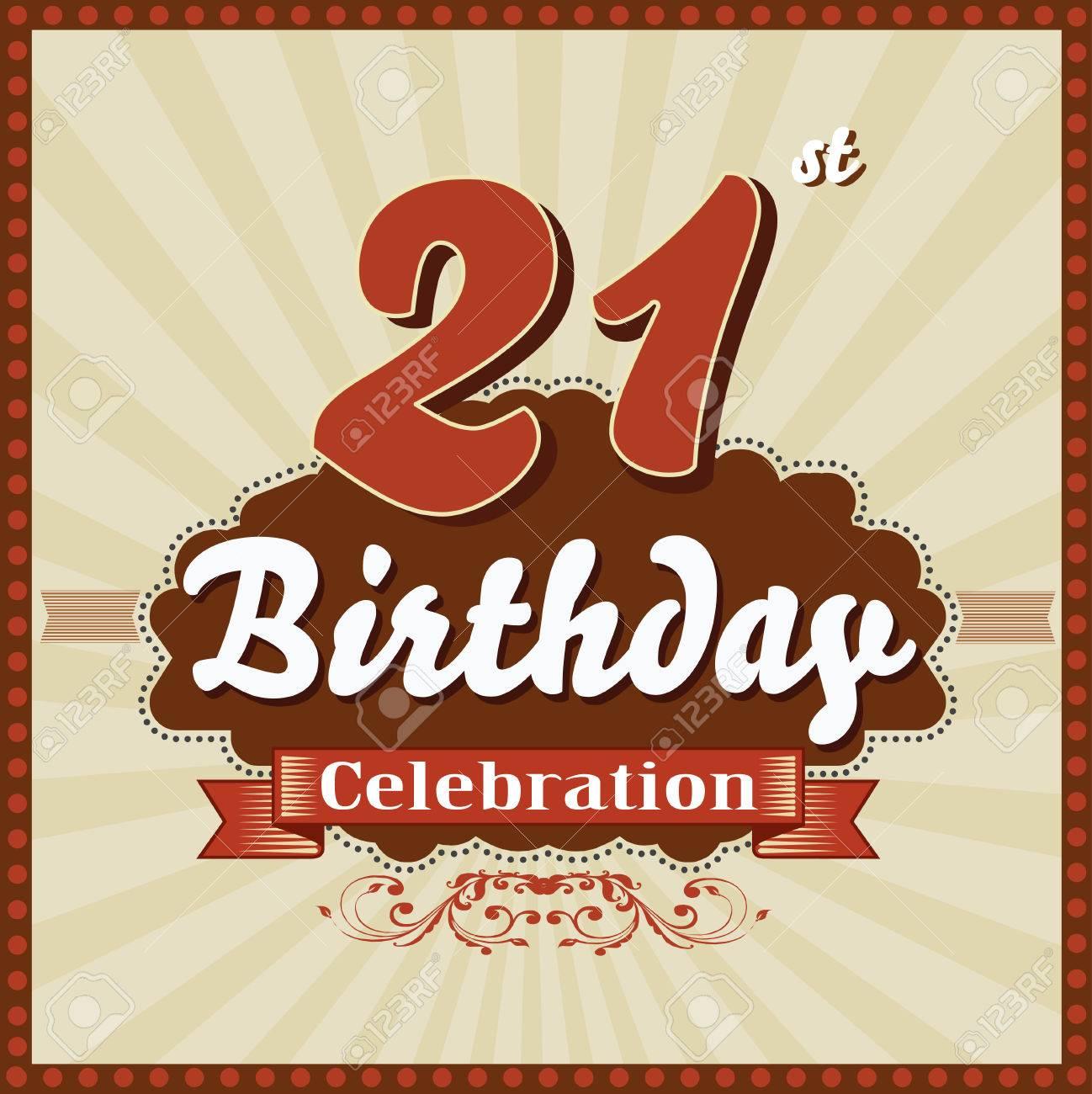 21 Ans Celebration 21e Joyeux Anniversaire Style Retro Vecteur De