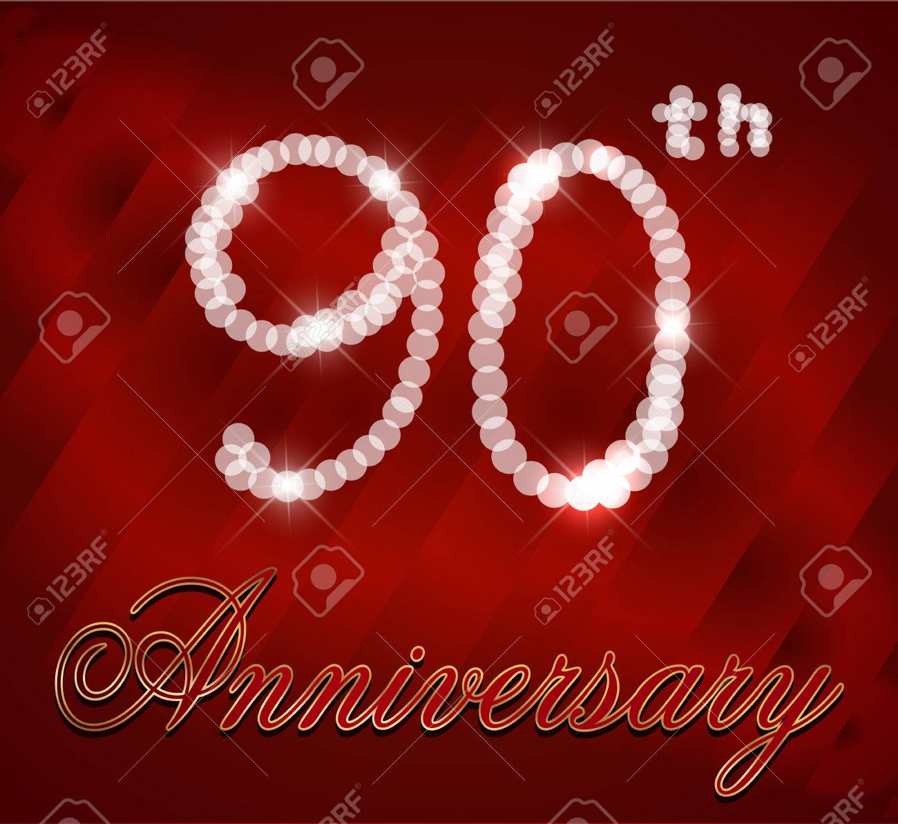 90 Year Happy Birthday Card 90th Vector EPS10 Stock