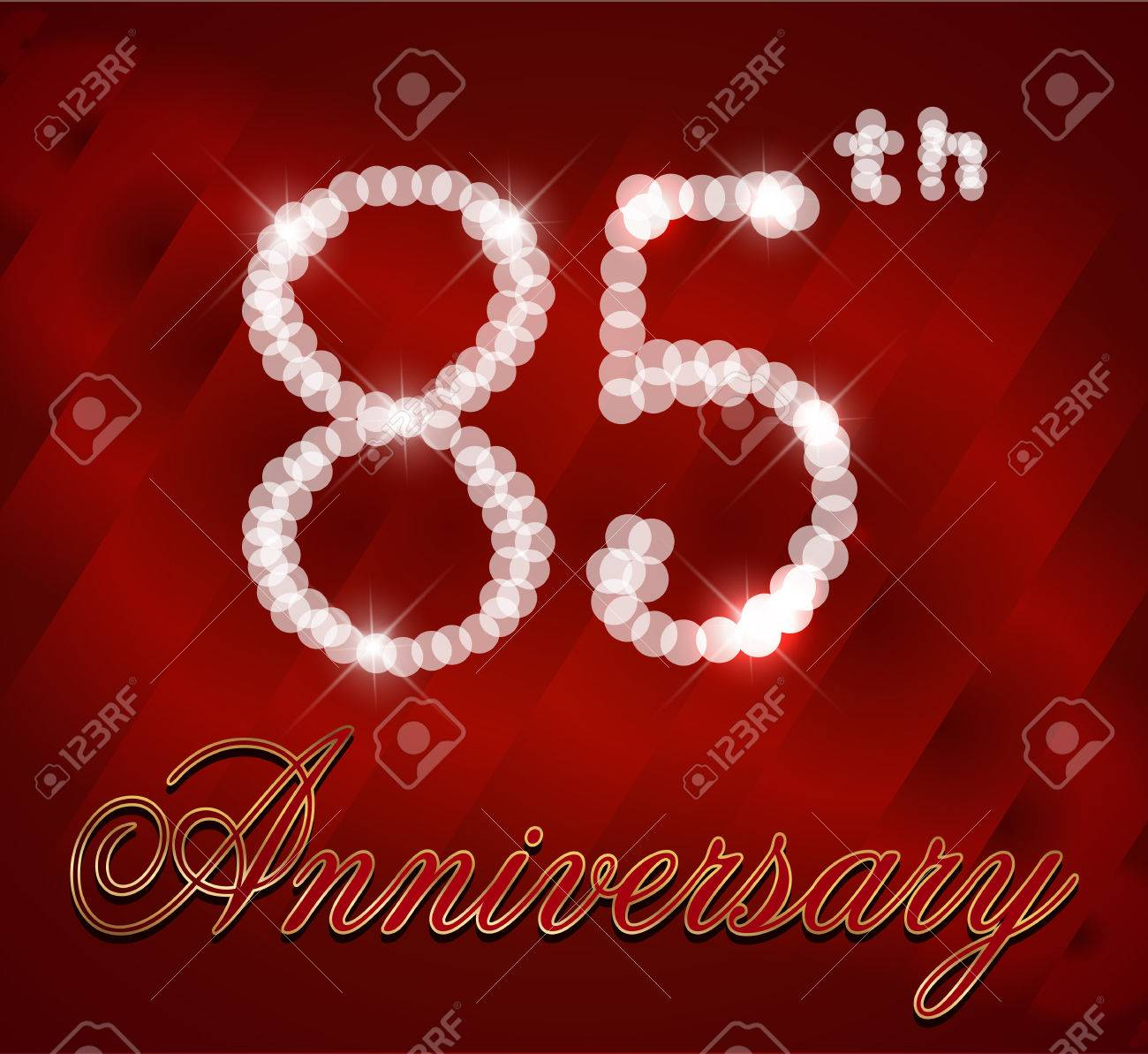 85 Year Happy Birthday Card 85th Vector EPS10 Stock