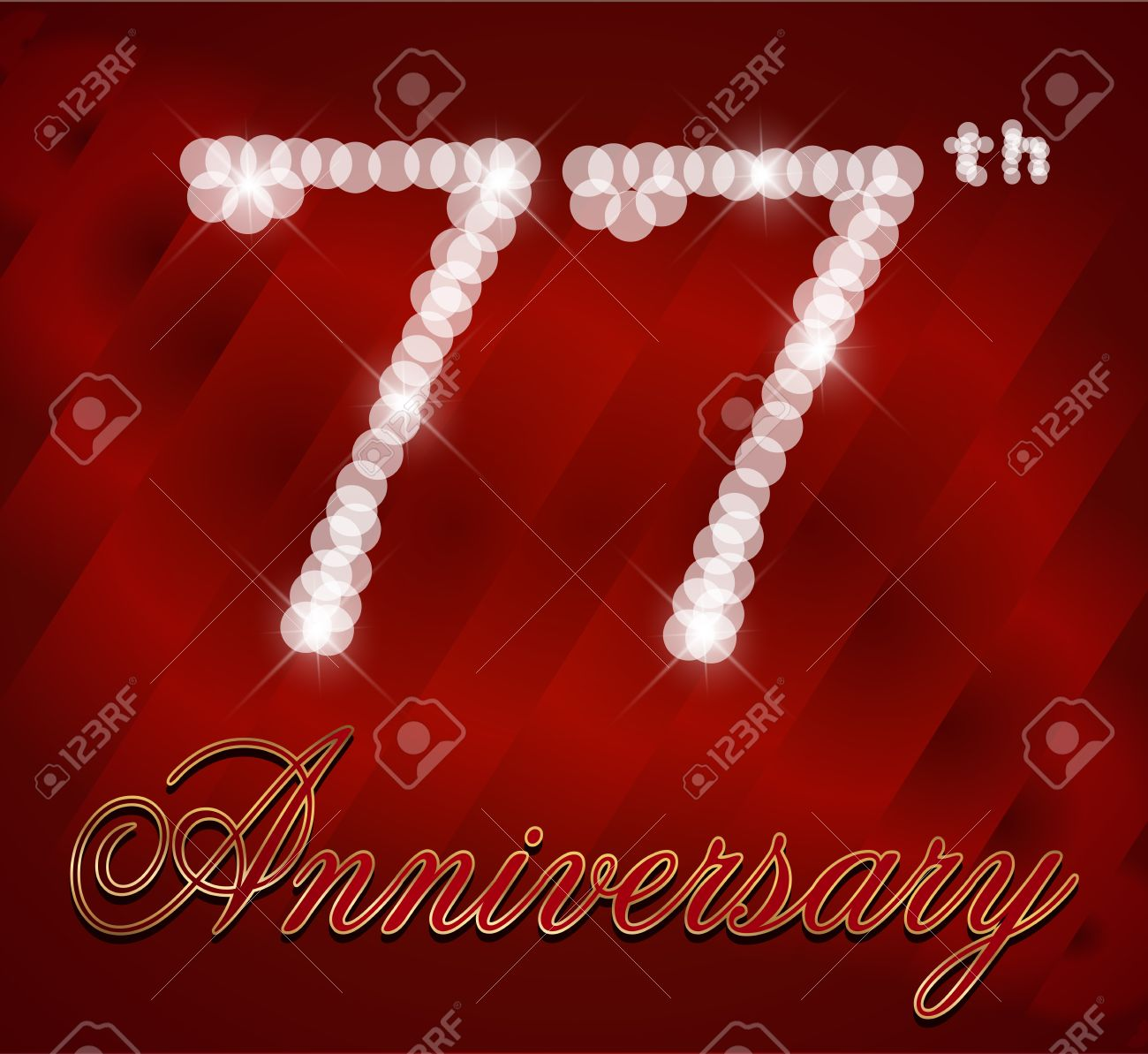 77 Year Happy Birthday Card 77th Vector EPS10 Stock