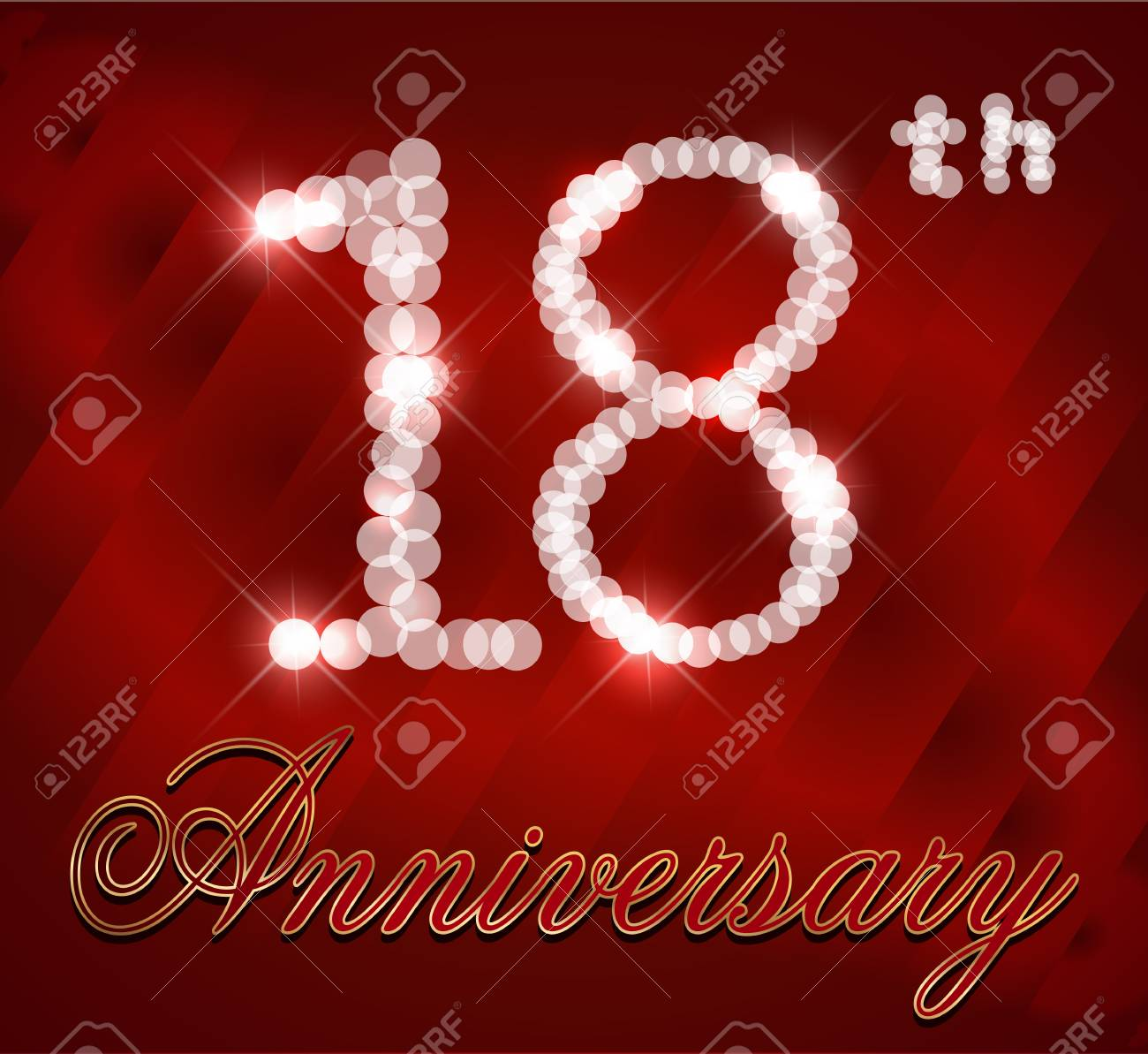 18 Year Happy Birthday Card 18th Vector EPS10 Stock
