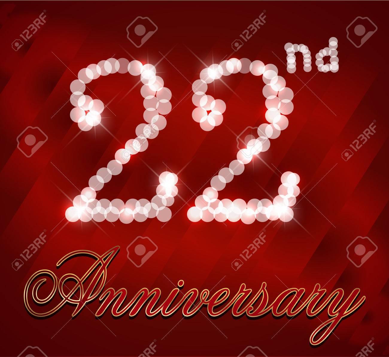 22 Year Happy Birthday Card 22nd Vector EPS10 Stock