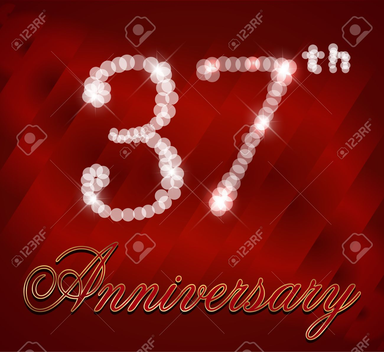 37 Year Happy Birthday Card 37th Vector EPS10 Stock