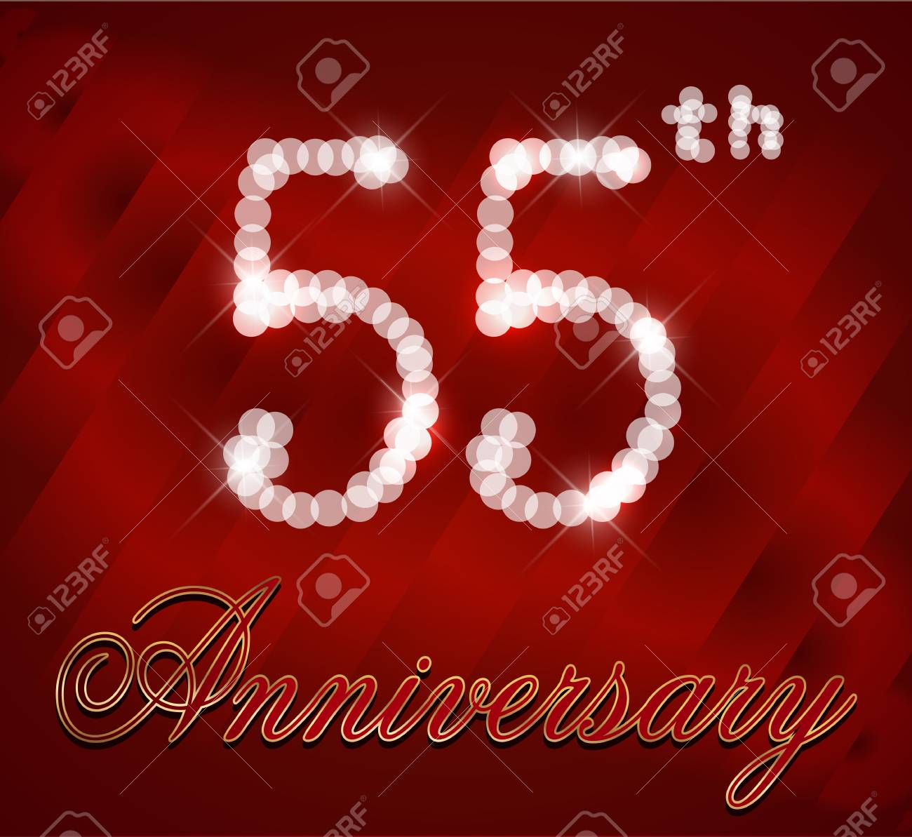 55 Year Happy Birthday Card 55th Vector EPS10 Stock
