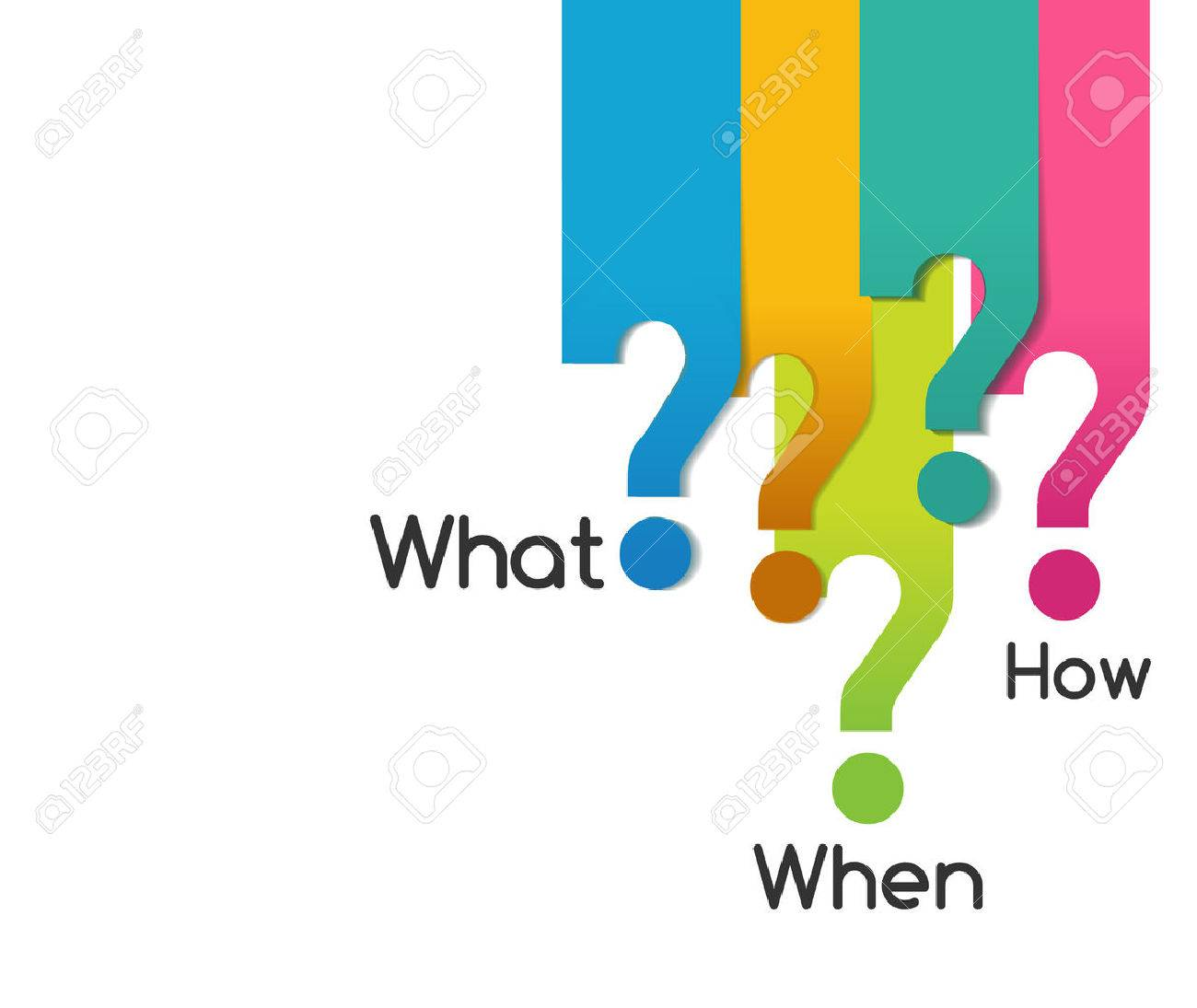 flat color question symbol of what when where why who how, analysis diagram - vector eps10 - 44394201