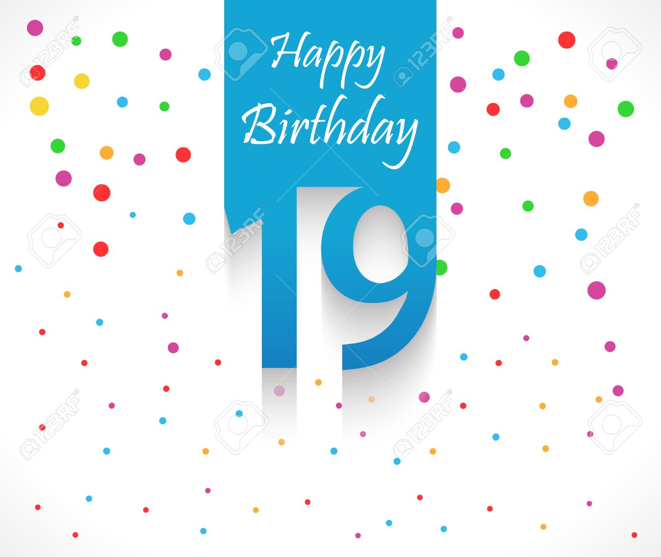Fond D Anniversaire De 19 Ans Joyeux Ou Carte Avec Des Confettis