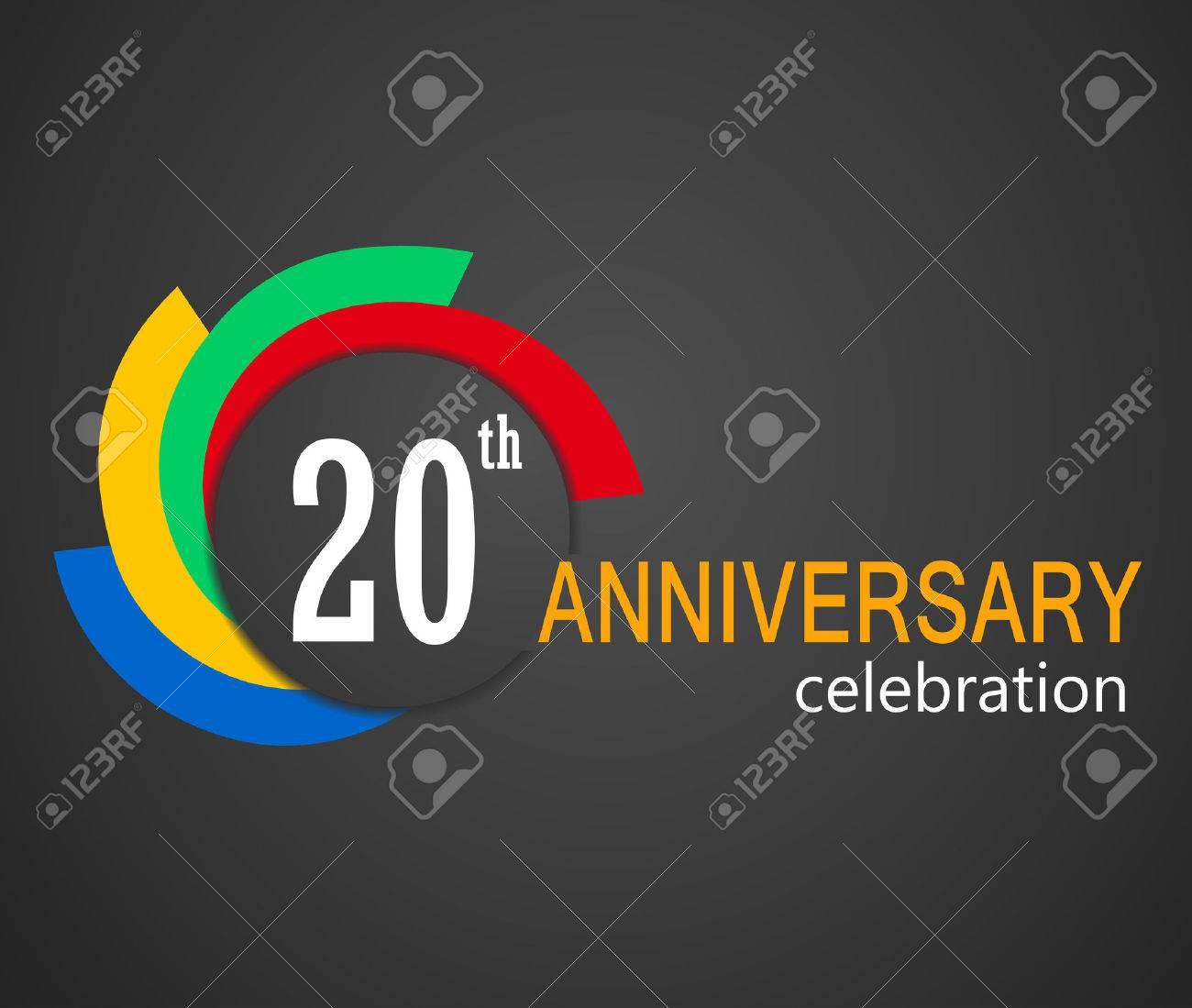 20 Jarig Bestaan Viering Achtergrond 20 Jaar Verjaardag Kaart