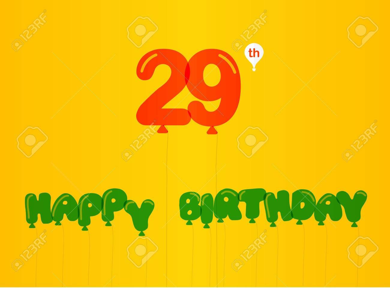 29 Year Birthday Celebration Flat Color 29th Anniversary Decorative