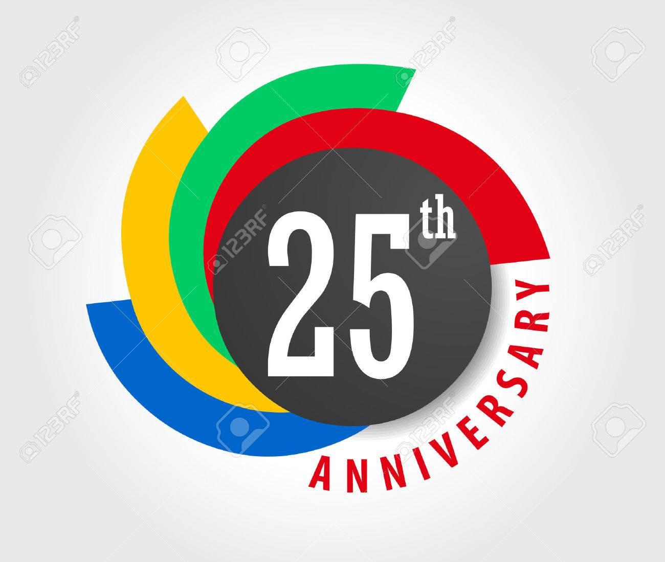 25th Anniversary celebration background, 25 years anniversary card illustration - 59936617