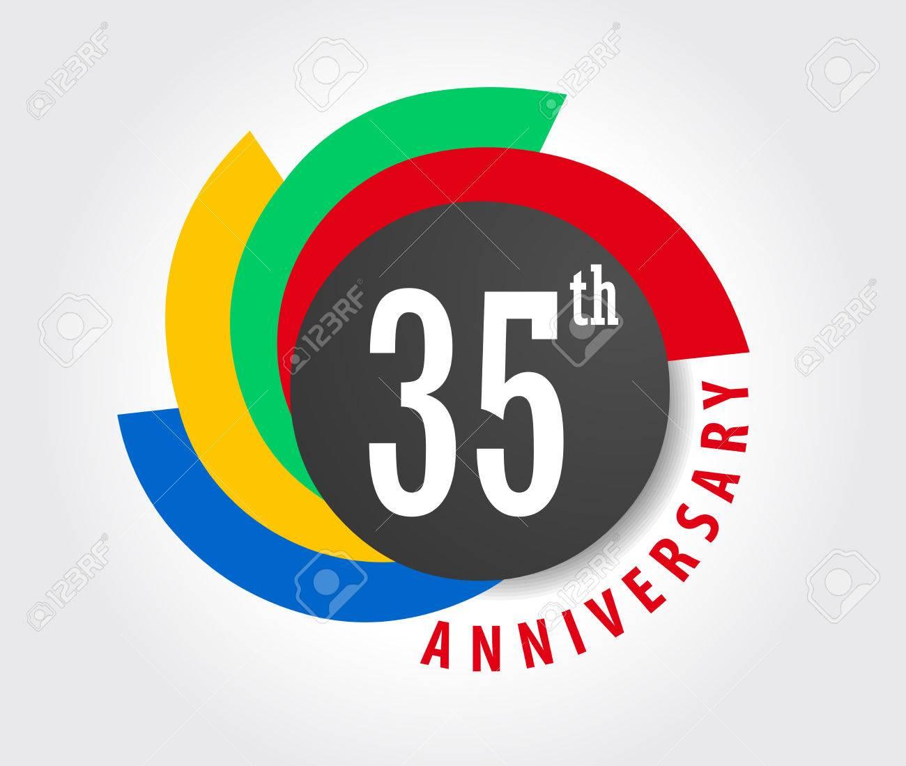 35th Anniversary celebration background, 35 years anniversary card illustration - 59937284