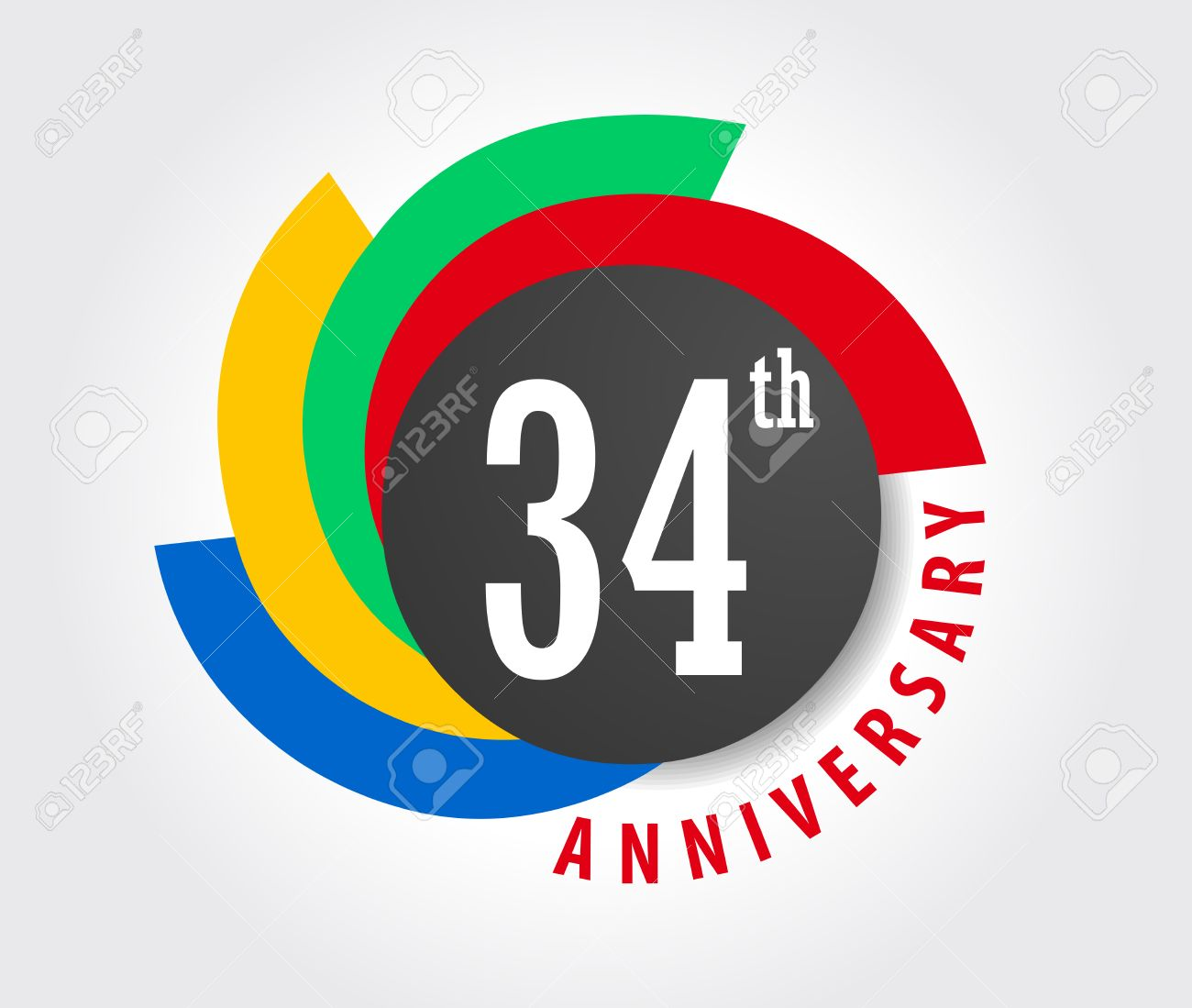 34th Anniversary celebration background, 34 years anniversary card illustration - 59937288