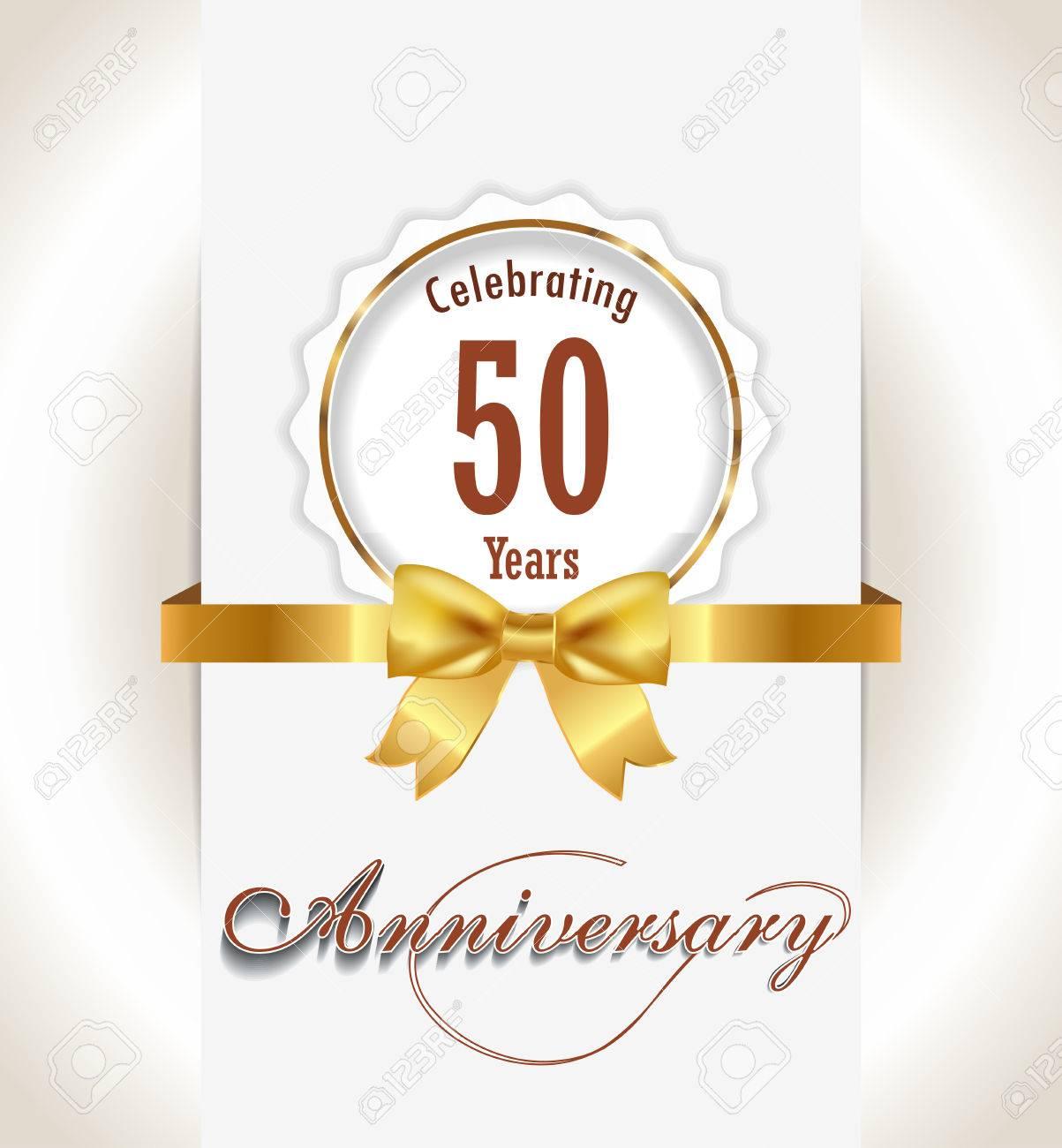 50 Aniversario De Fondo 50 Años De Celebración De Tarjeta De Invitación Vector Eps 10