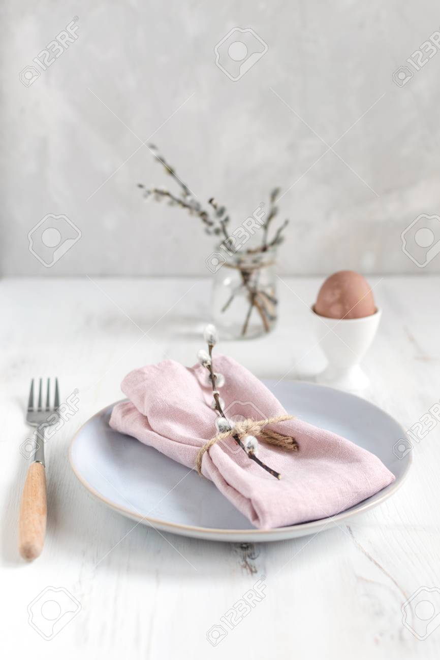 Easter Table Setting Idea Minimal Decoration Pink Napkin Stock Photo Picture And Royalty Free Image Image 119291849
